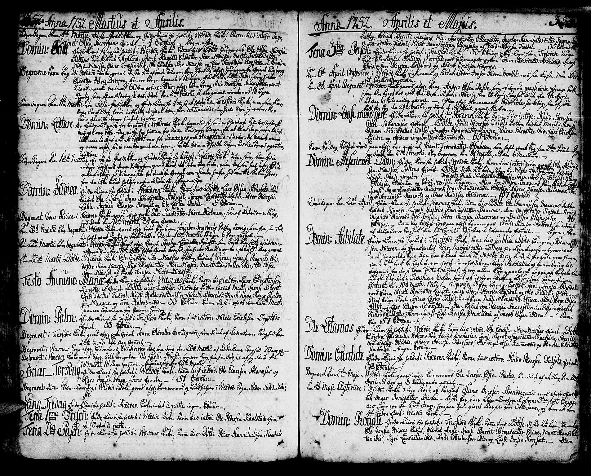 SAT, Ministerialprotokoller, klokkerbøker og fødselsregistre - Møre og Romsdal, 547/L0599: Ministerialbok nr. 547A01, 1721-1764, s. 352-353