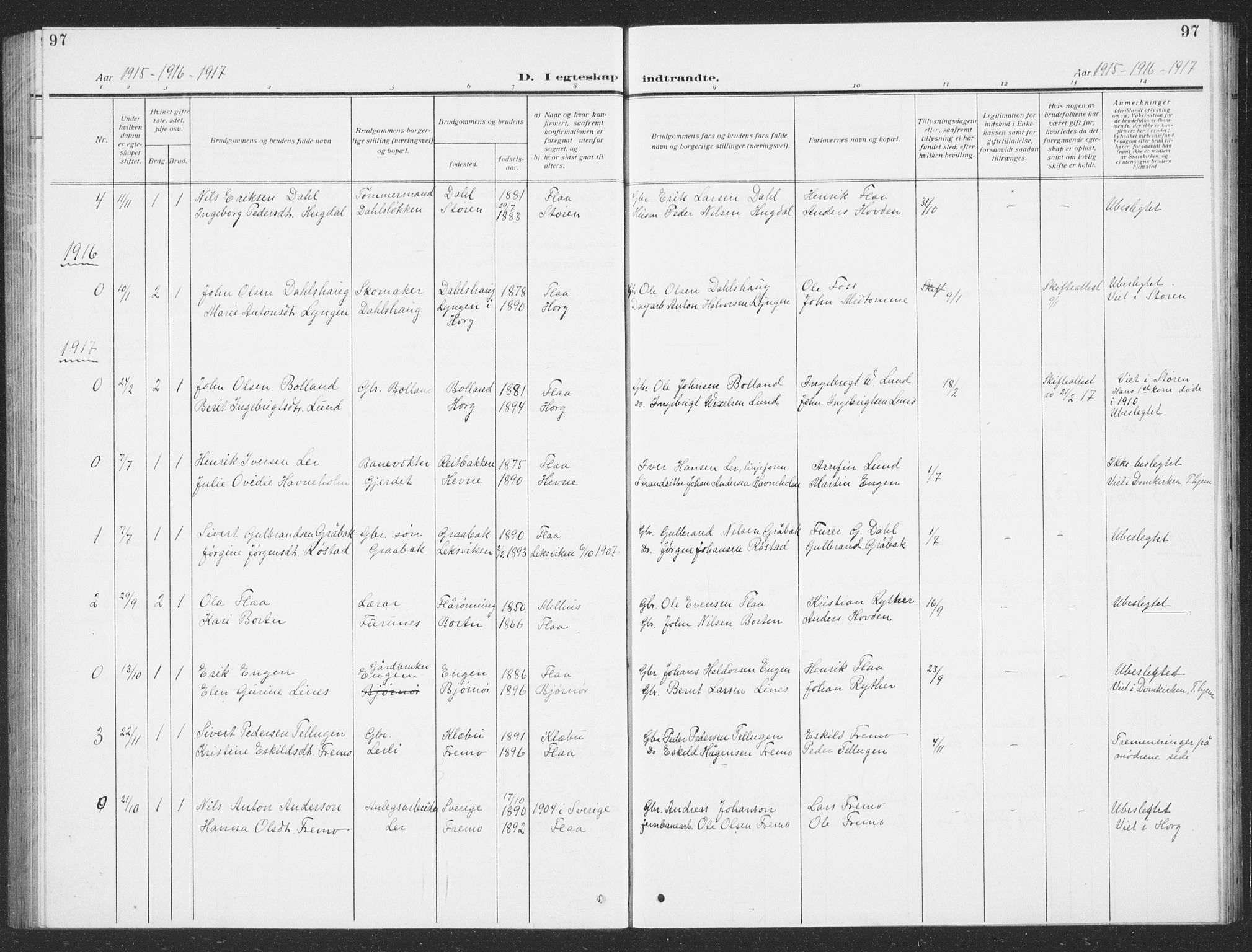 SAT, Ministerialprotokoller, klokkerbøker og fødselsregistre - Sør-Trøndelag, 693/L1124: Klokkerbok nr. 693C05, 1911-1941, s. 97
