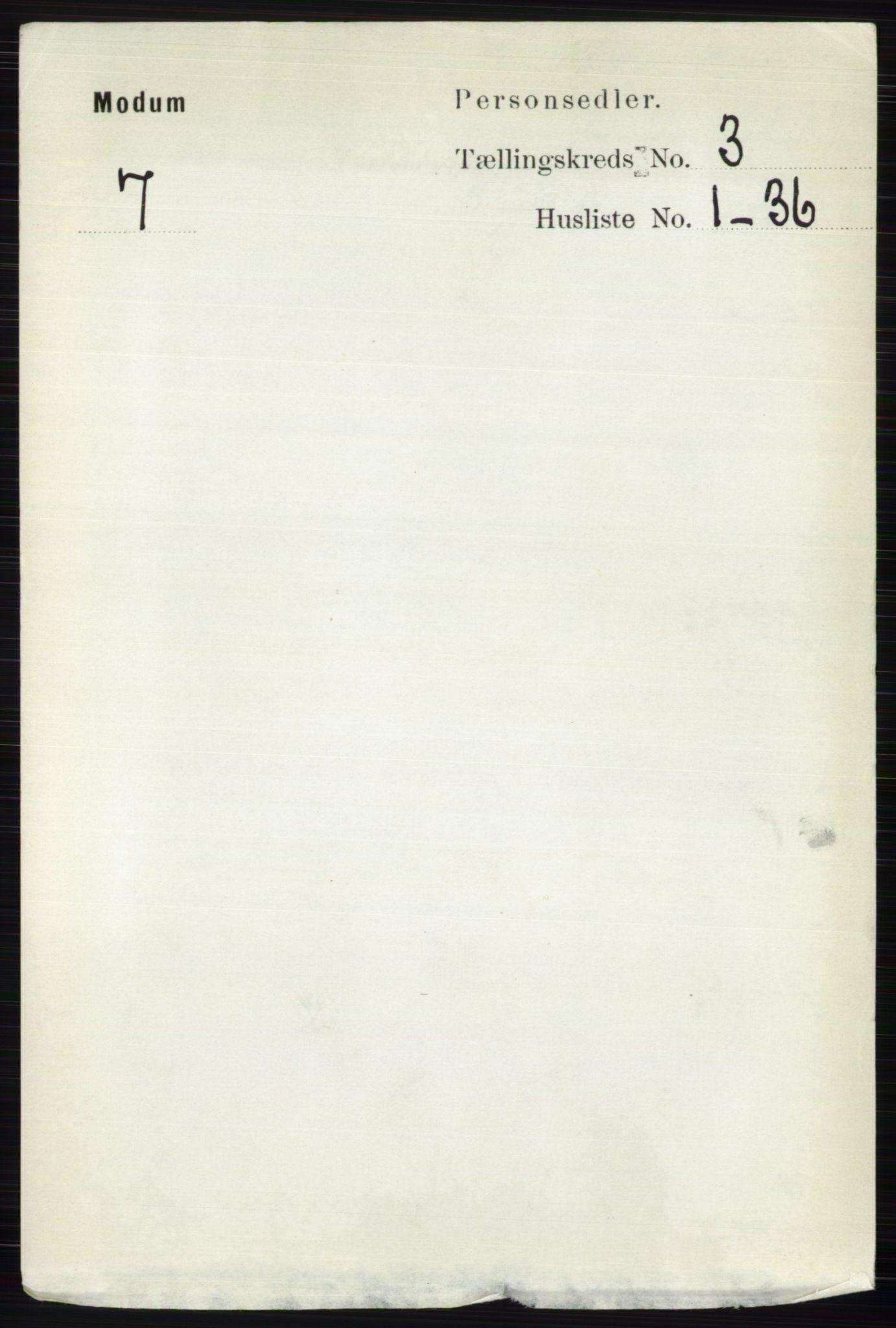 RA, Folketelling 1891 for 0623 Modum herred, 1891, s. 719