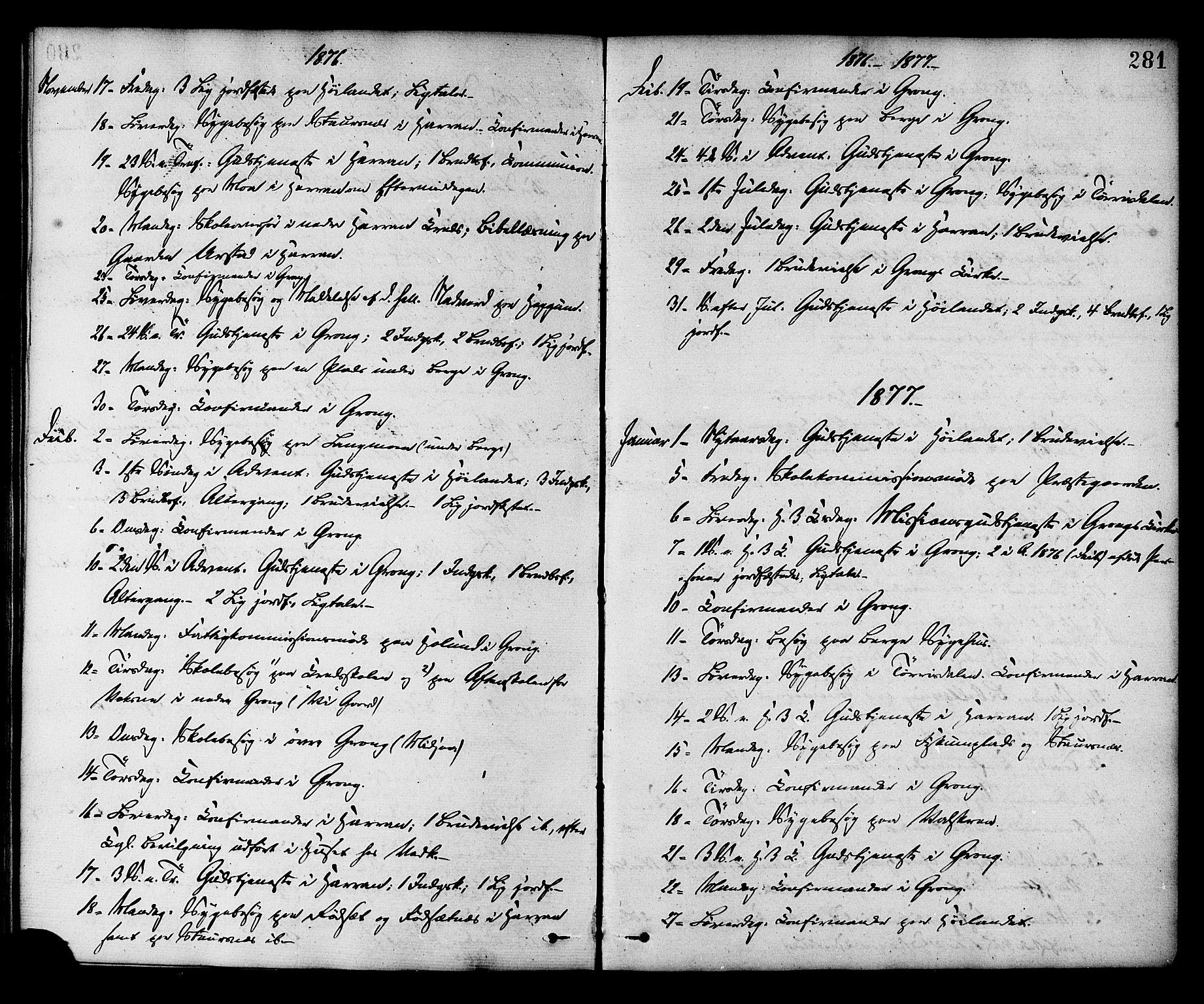 SAT, Ministerialprotokoller, klokkerbøker og fødselsregistre - Nord-Trøndelag, 758/L0516: Ministerialbok nr. 758A03 /1, 1869-1879, s. 281