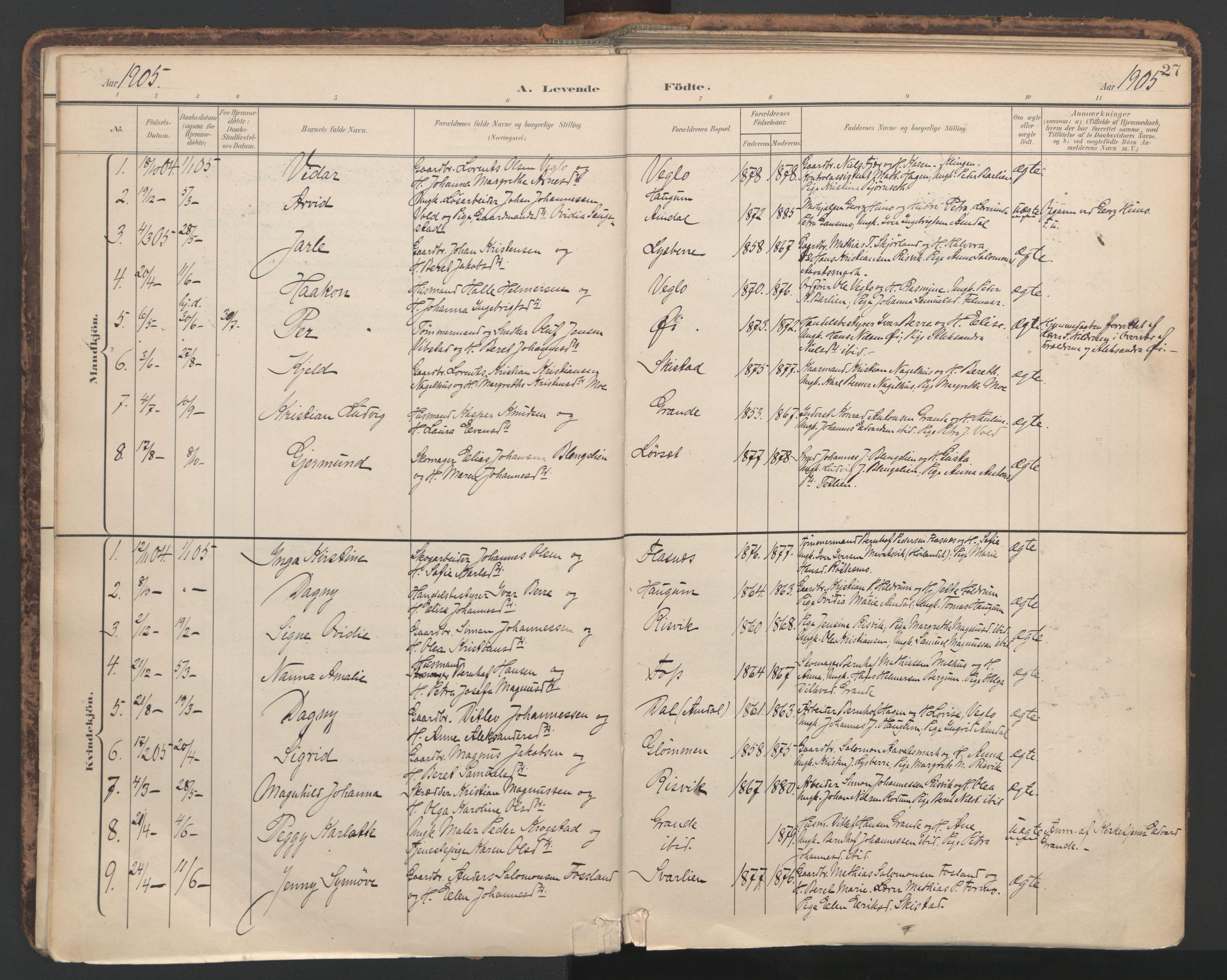 SAT, Ministerialprotokoller, klokkerbøker og fødselsregistre - Nord-Trøndelag, 764/L0556: Ministerialbok nr. 764A11, 1897-1924, s. 27