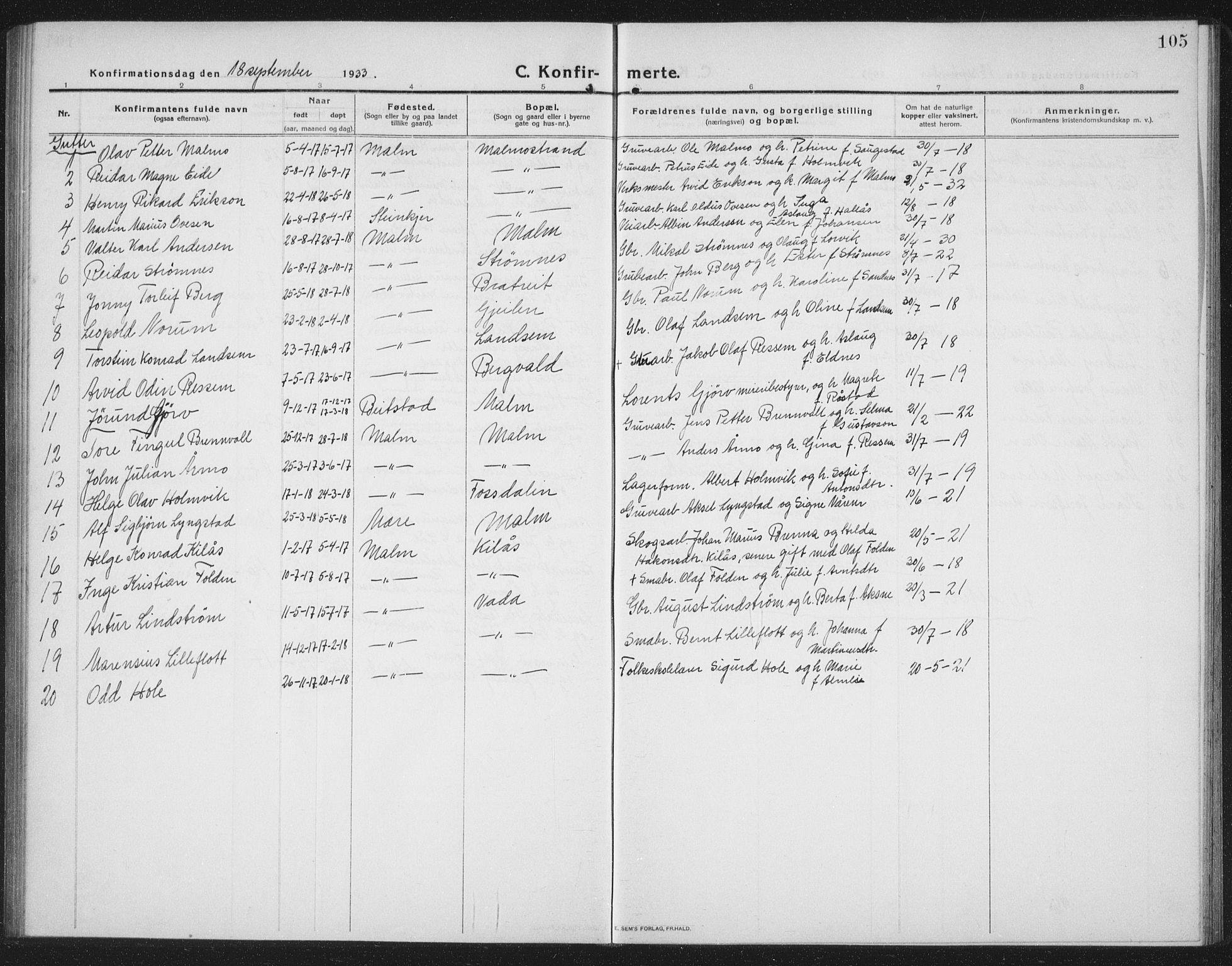 SAT, Ministerialprotokoller, klokkerbøker og fødselsregistre - Nord-Trøndelag, 745/L0434: Klokkerbok nr. 745C03, 1914-1937, s. 105