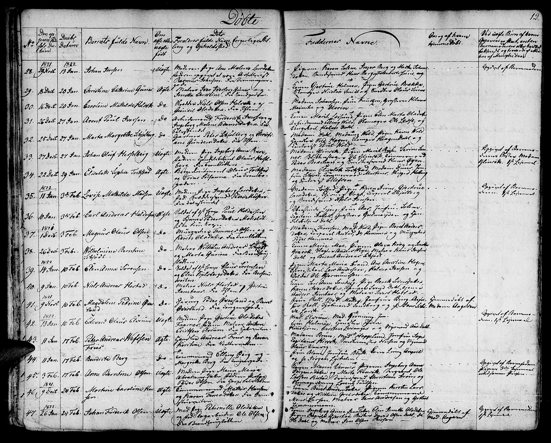 SAT, Ministerialprotokoller, klokkerbøker og fødselsregistre - Sør-Trøndelag, 601/L0045: Ministerialbok nr. 601A13, 1821-1831, s. 12