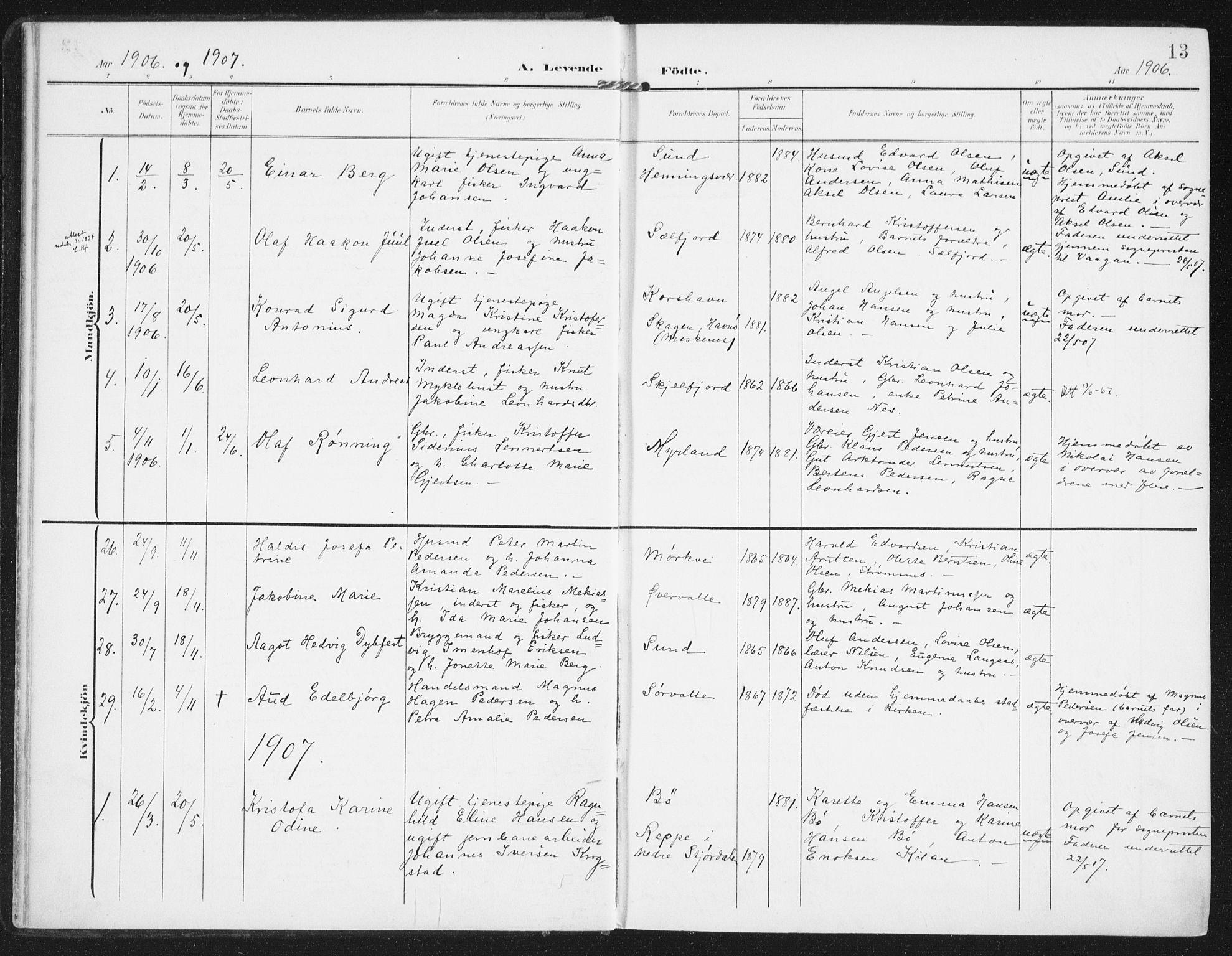 SAT, Ministerialprotokoller, klokkerbøker og fødselsregistre - Nordland, 885/L1206: Ministerialbok nr. 885A07, 1905-1915, s. 13