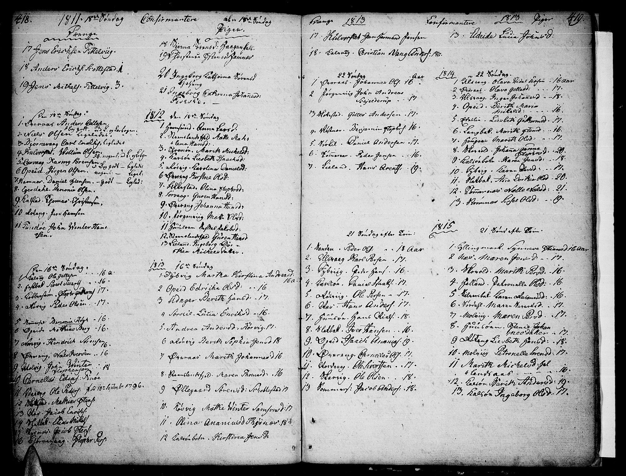 SAT, Ministerialprotokoller, klokkerbøker og fødselsregistre - Nordland, 859/L0841: Ministerialbok nr. 859A01, 1766-1821, s. 418-419