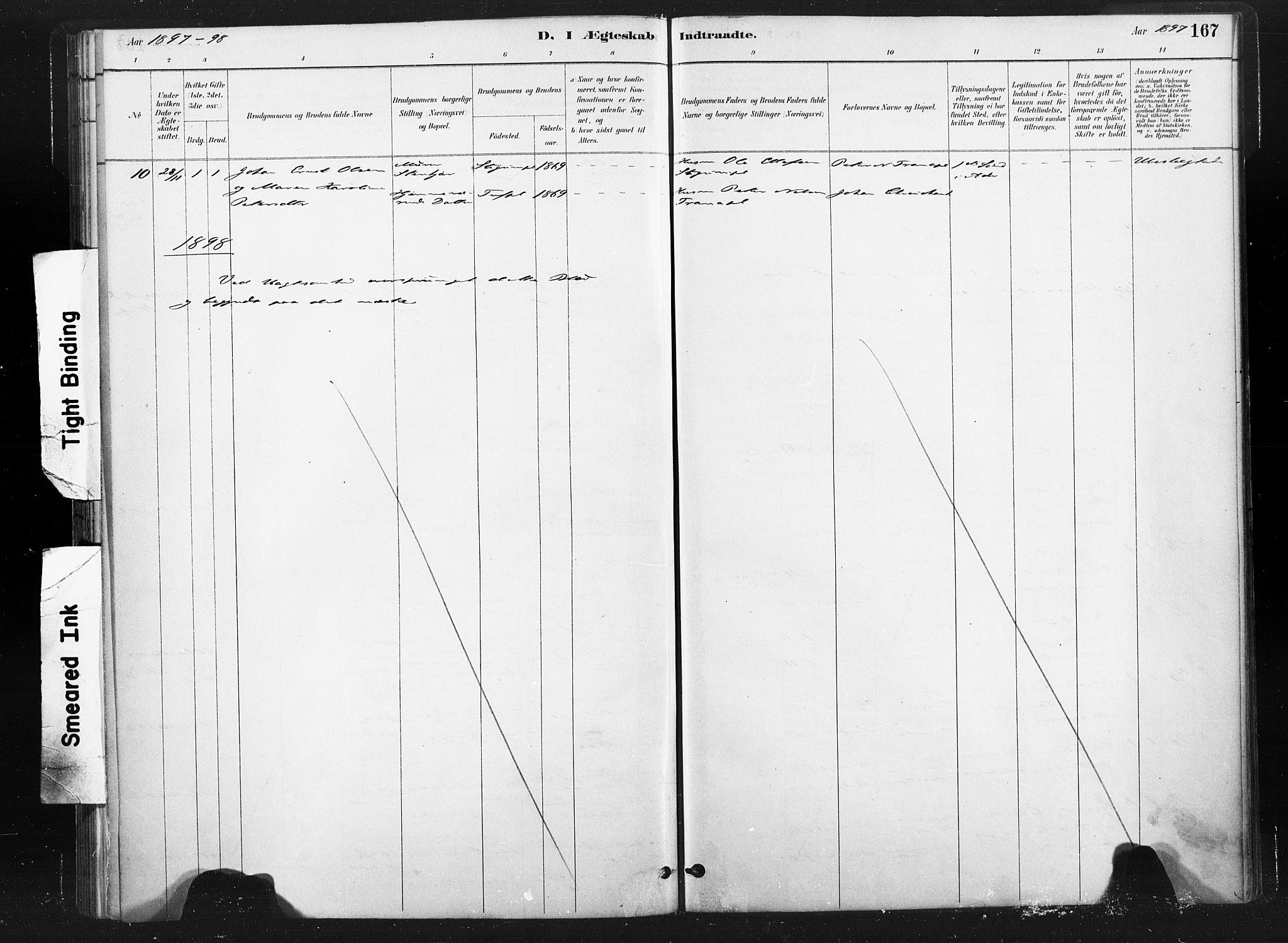 SAT, Ministerialprotokoller, klokkerbøker og fødselsregistre - Nord-Trøndelag, 736/L0361: Ministerialbok nr. 736A01, 1884-1906, s. 167