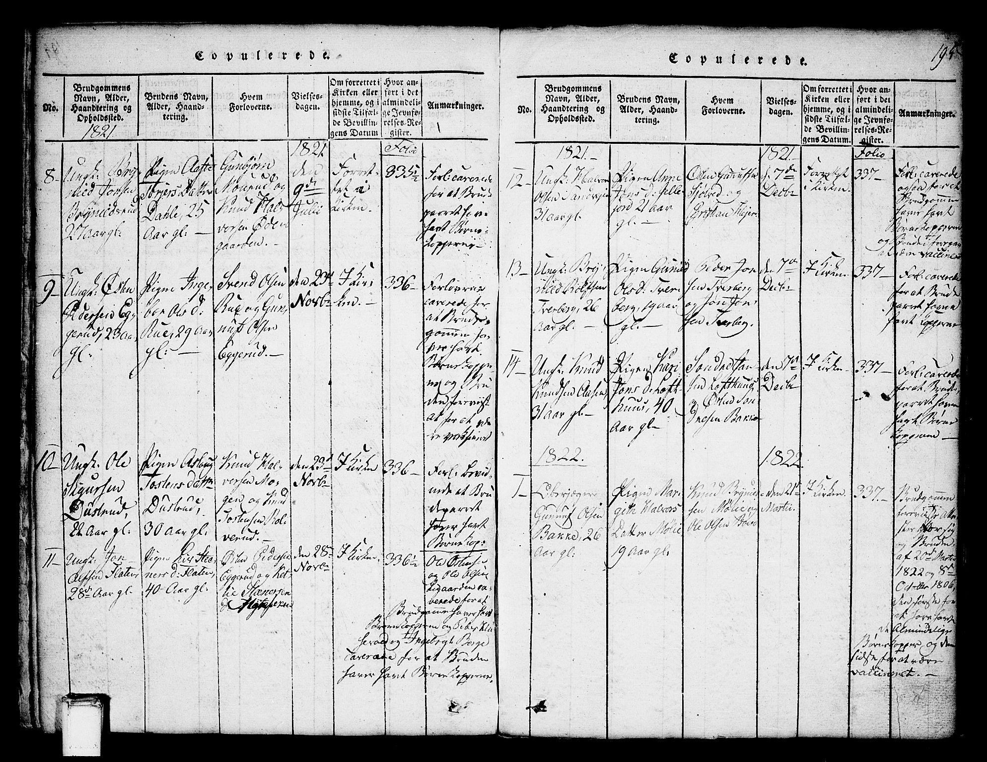 SAKO, Tinn kirkebøker, G/Ga/L0001: Klokkerbok nr. I 1, 1815-1850, s. 195
