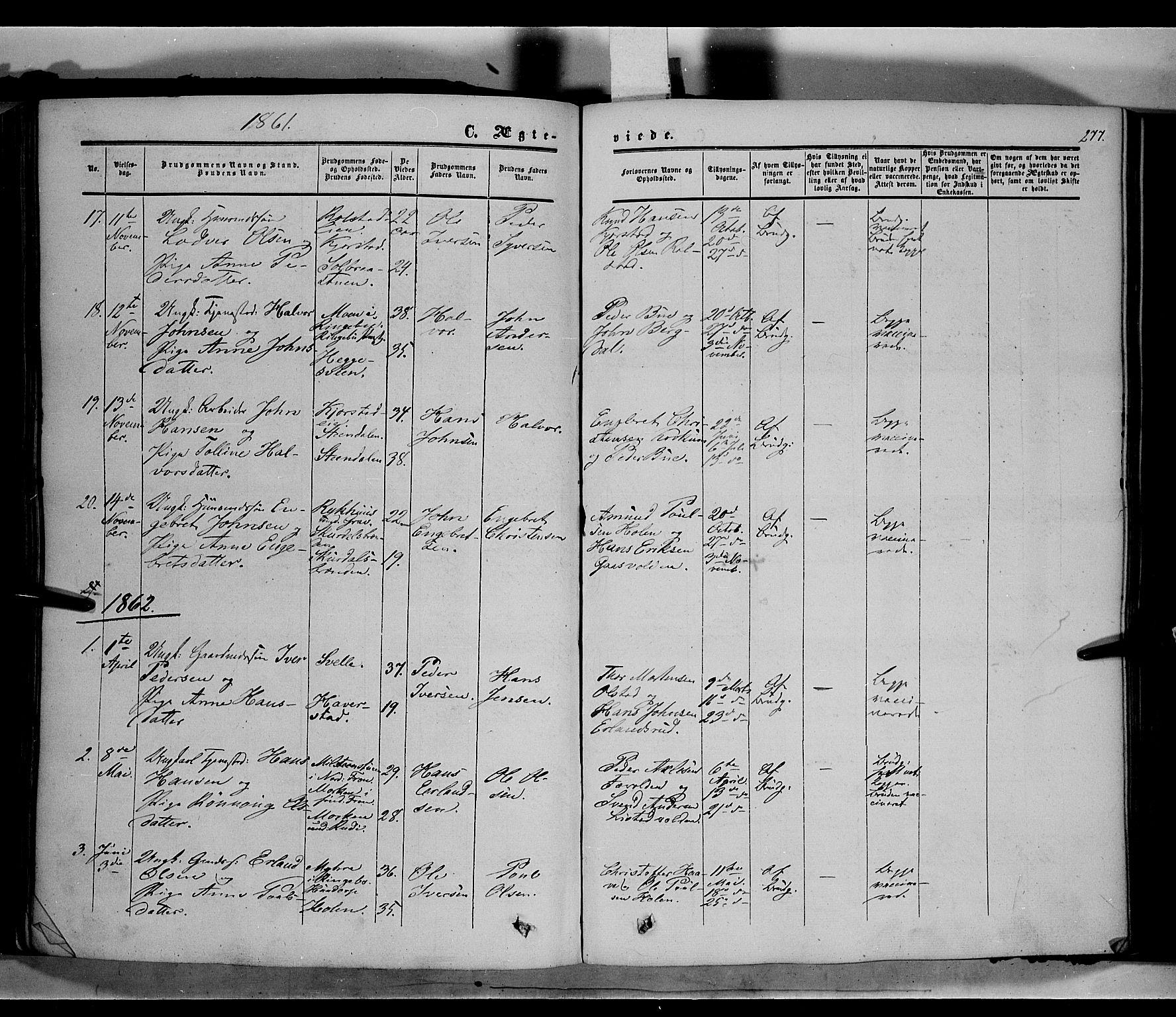 SAH, Sør-Fron prestekontor, H/Ha/Haa/L0001: Ministerialbok nr. 1, 1849-1863, s. 277