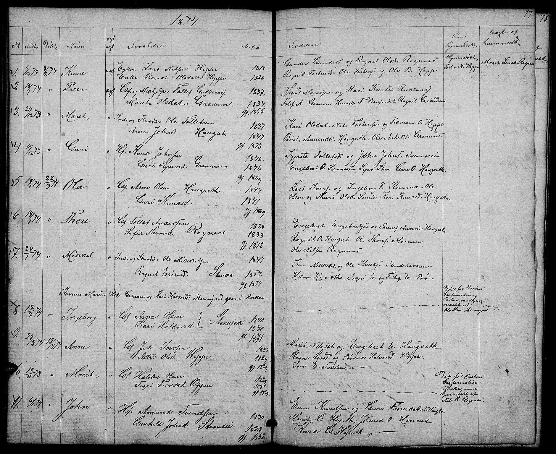 SAH, Nord-Aurdal prestekontor, Klokkerbok nr. 4, 1842-1882, s. 77