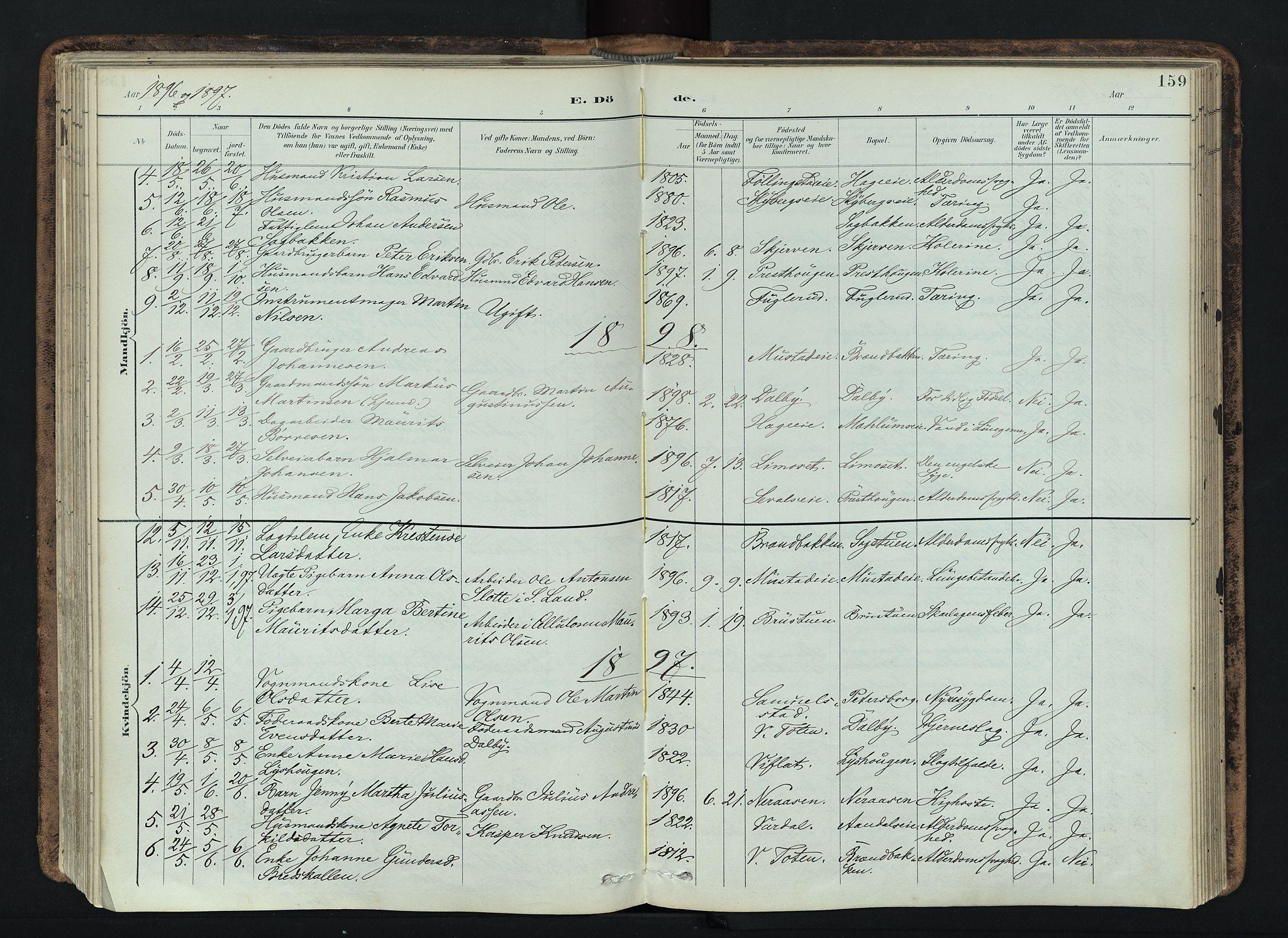 SAH, Vardal prestekontor, H/Ha/Haa/L0019: Ministerialbok nr. 19, 1893-1907, s. 159