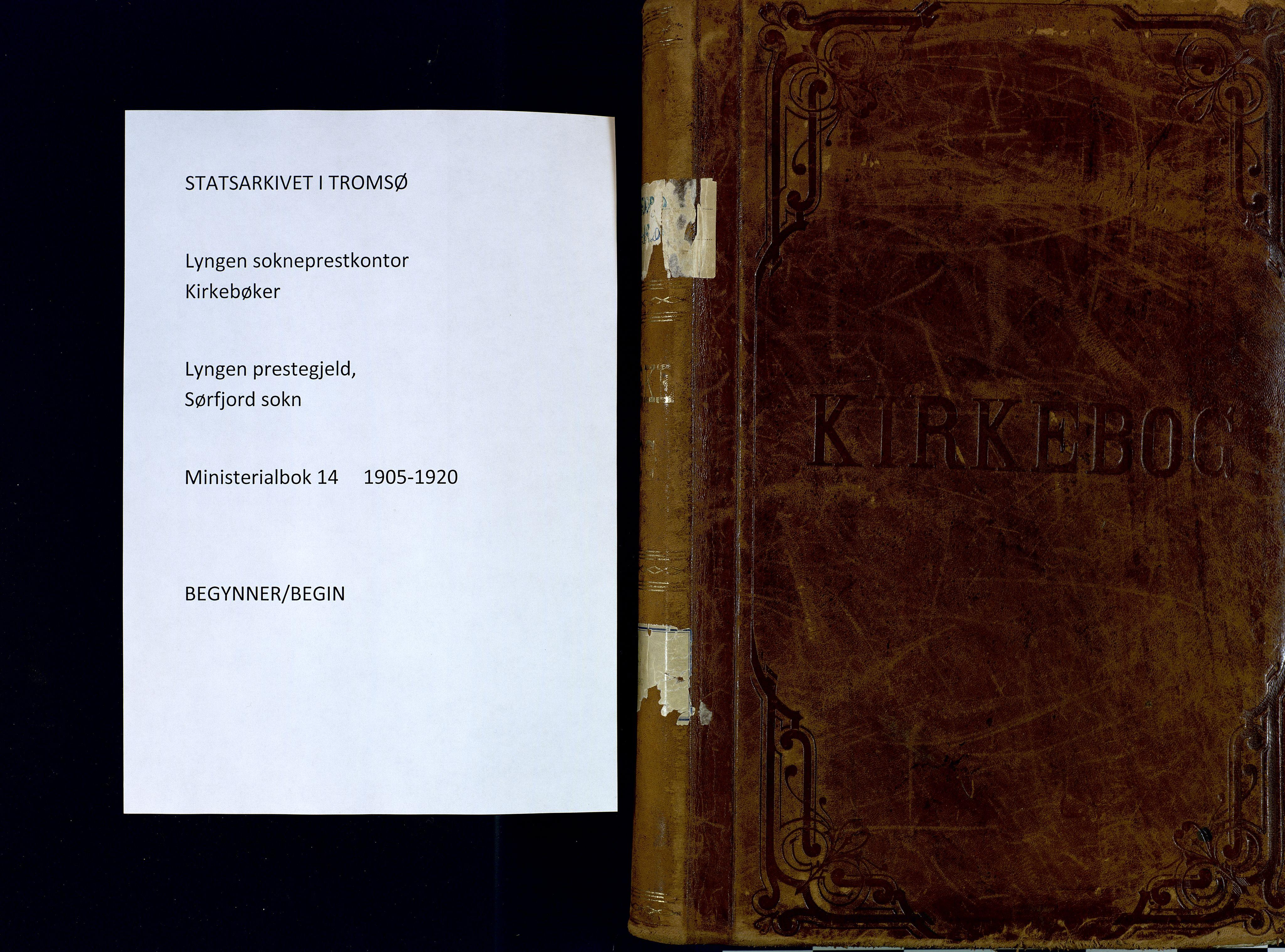 SATØ, Lyngen sokneprestembete, Ministerialbok nr. 14, 1905-1920