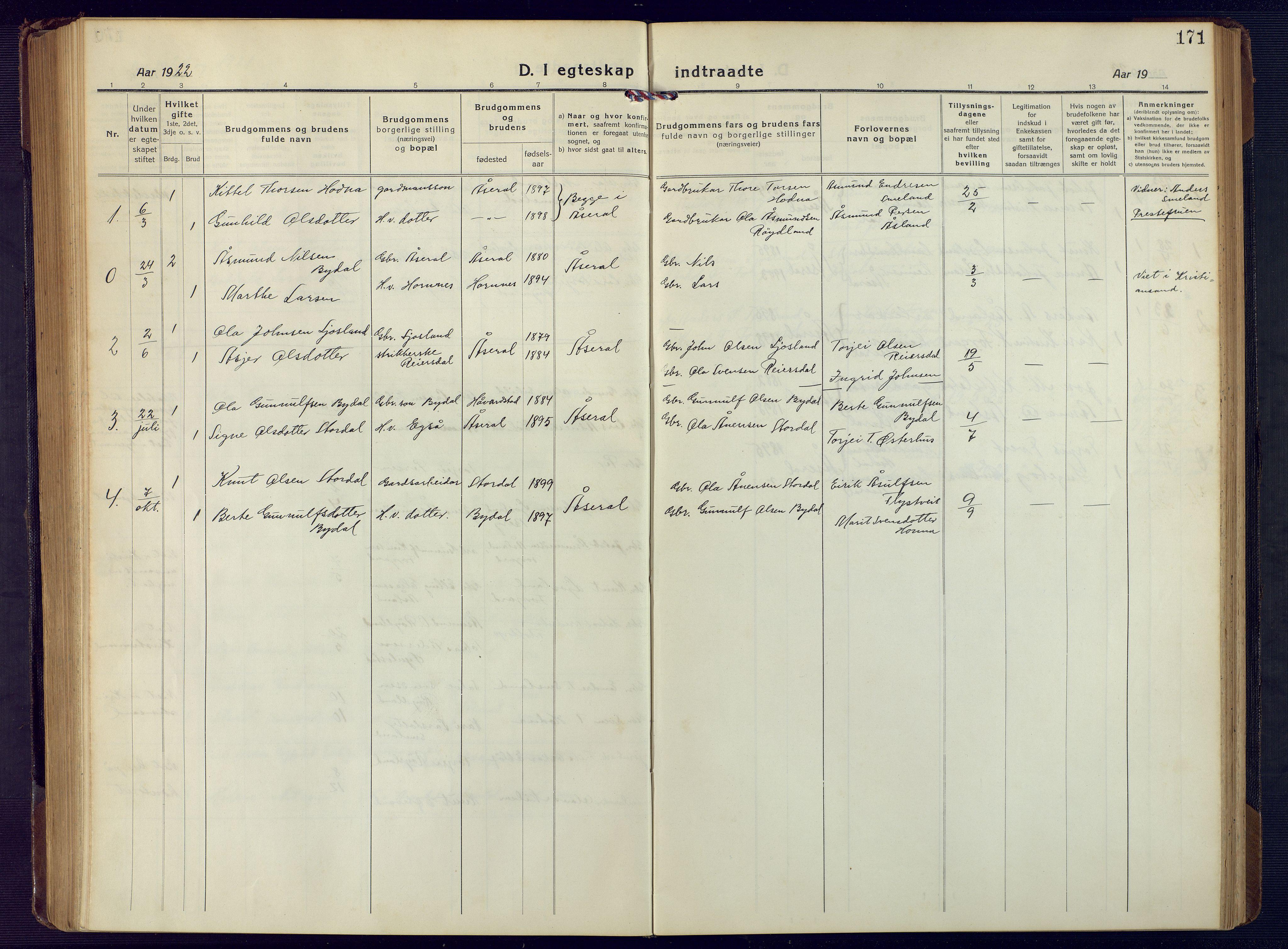 SAK, Åseral sokneprestkontor, F/Fb/L0004: Klokkerbok nr. B 4, 1920-1946, s. 171