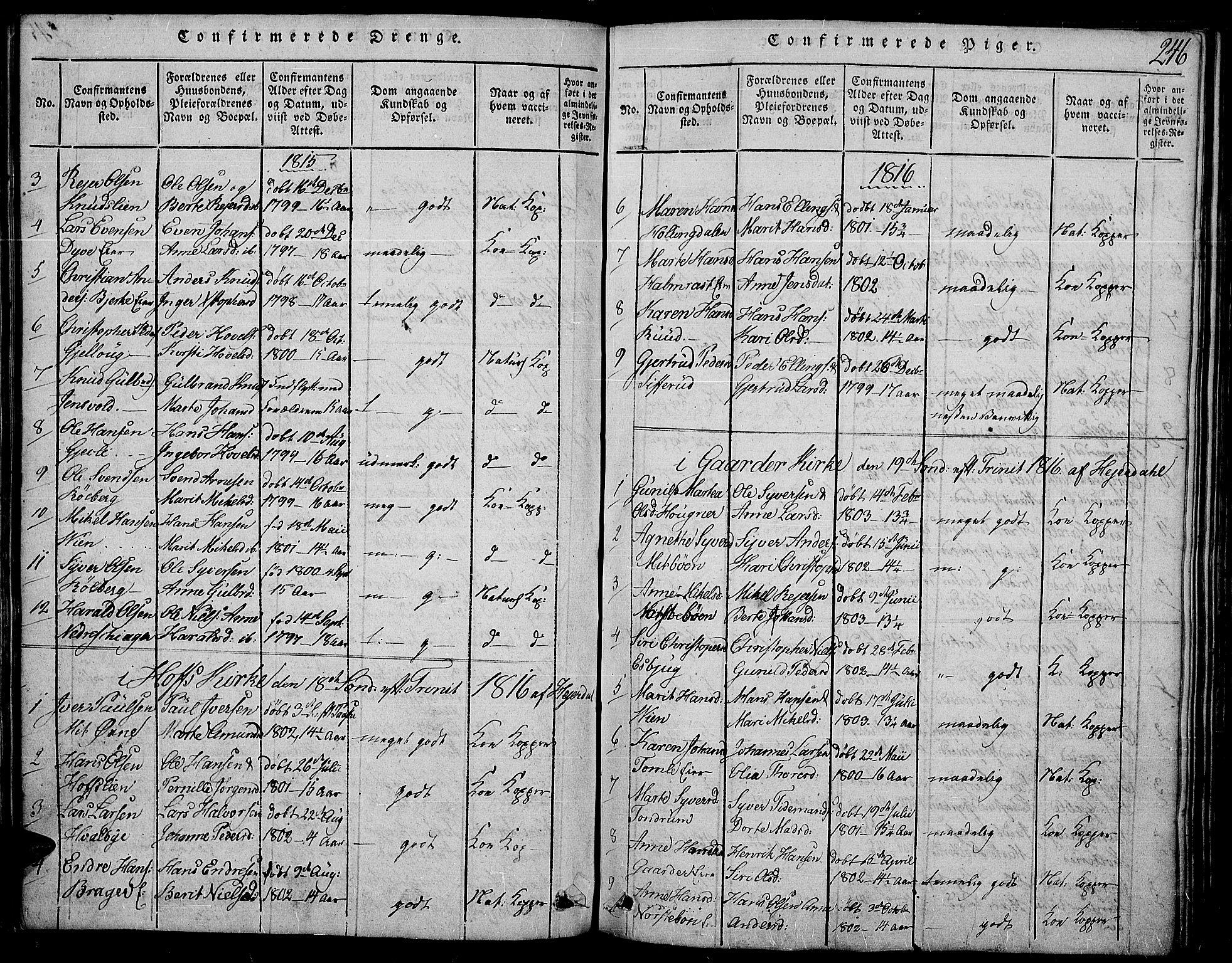 SAH, Land prestekontor, Ministerialbok nr. 7, 1814-1830, s. 246