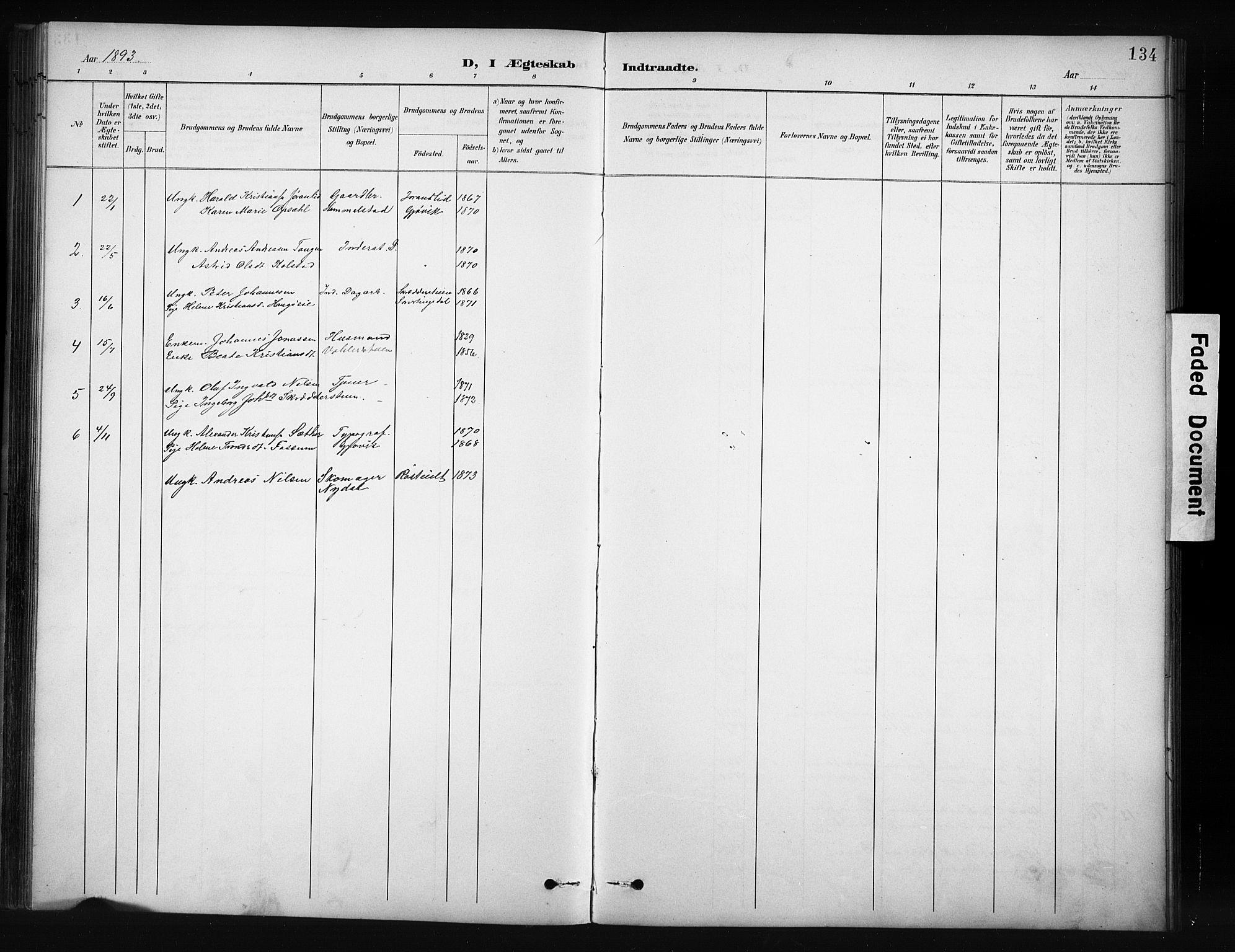 SAH, Nordre Land prestekontor, Klokkerbok nr. 12, 1891-1909, s. 134