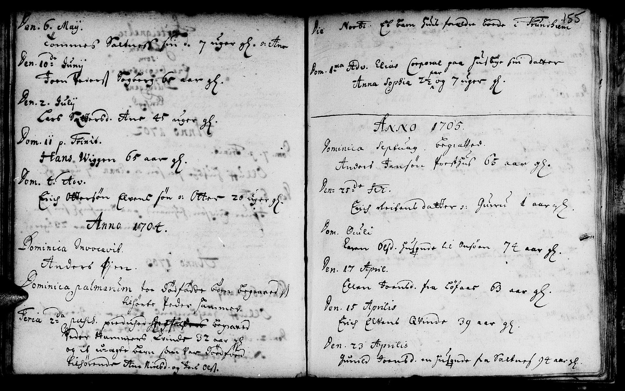 SAT, Ministerialprotokoller, klokkerbøker og fødselsregistre - Sør-Trøndelag, 666/L0783: Ministerialbok nr. 666A01, 1702-1753, s. 155