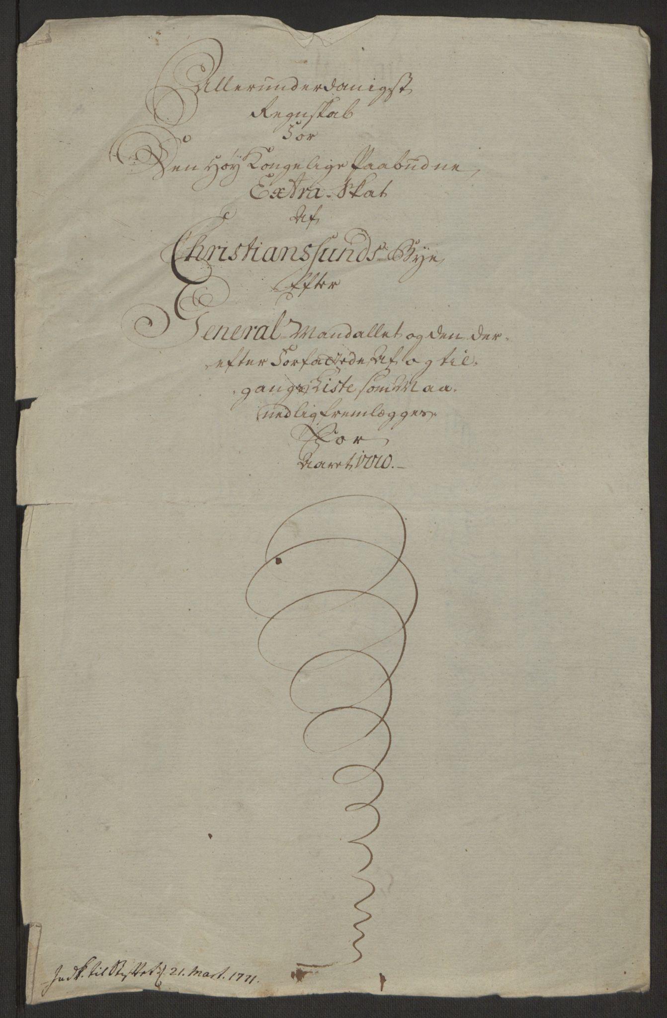RA, Rentekammeret inntil 1814, Reviderte regnskaper, Byregnskaper, R/Rr/L0495: [R1] Kontribusjonsregnskap, 1762-1772, s. 225