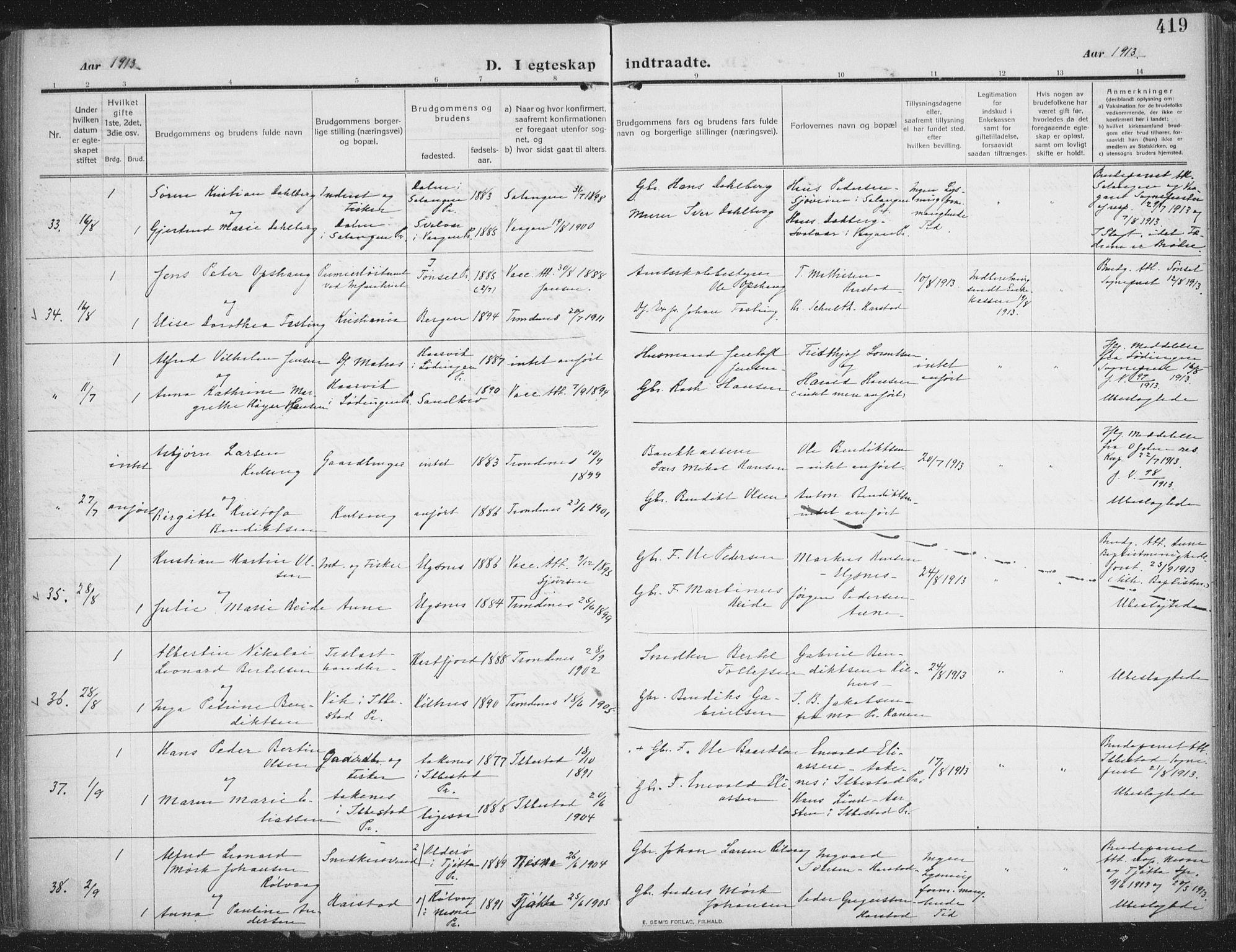 SATØ, Trondenes sokneprestkontor, H/Ha/L0018kirke: Ministerialbok nr. 18, 1909-1918, s. 419