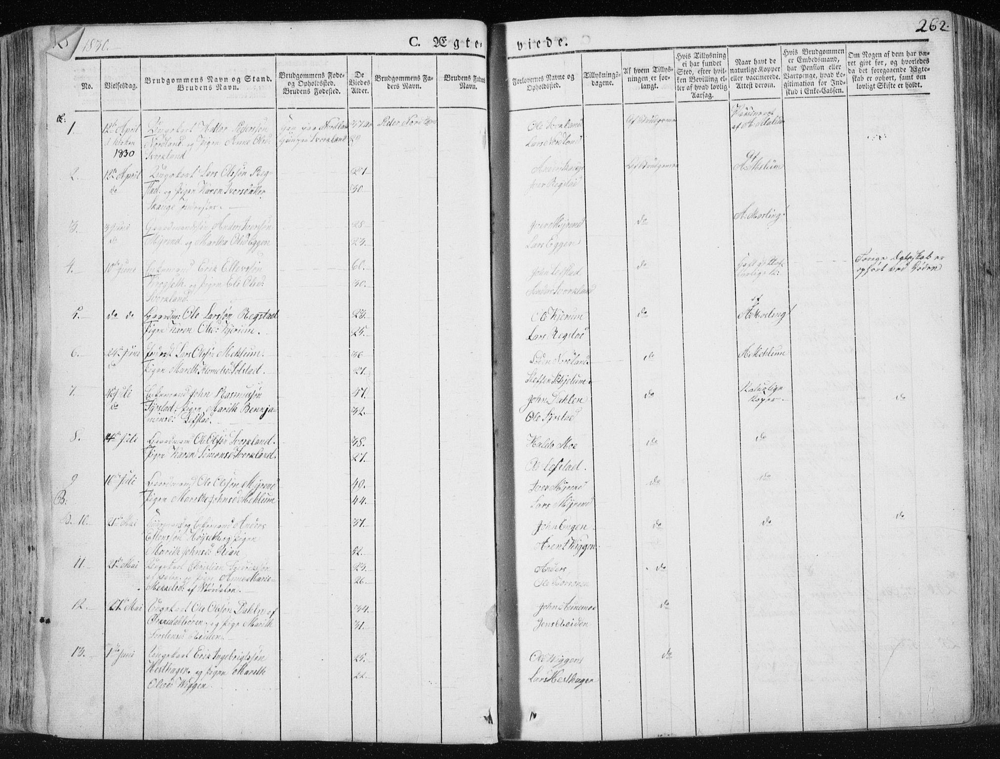 SAT, Ministerialprotokoller, klokkerbøker og fødselsregistre - Sør-Trøndelag, 665/L0771: Ministerialbok nr. 665A06, 1830-1856, s. 262