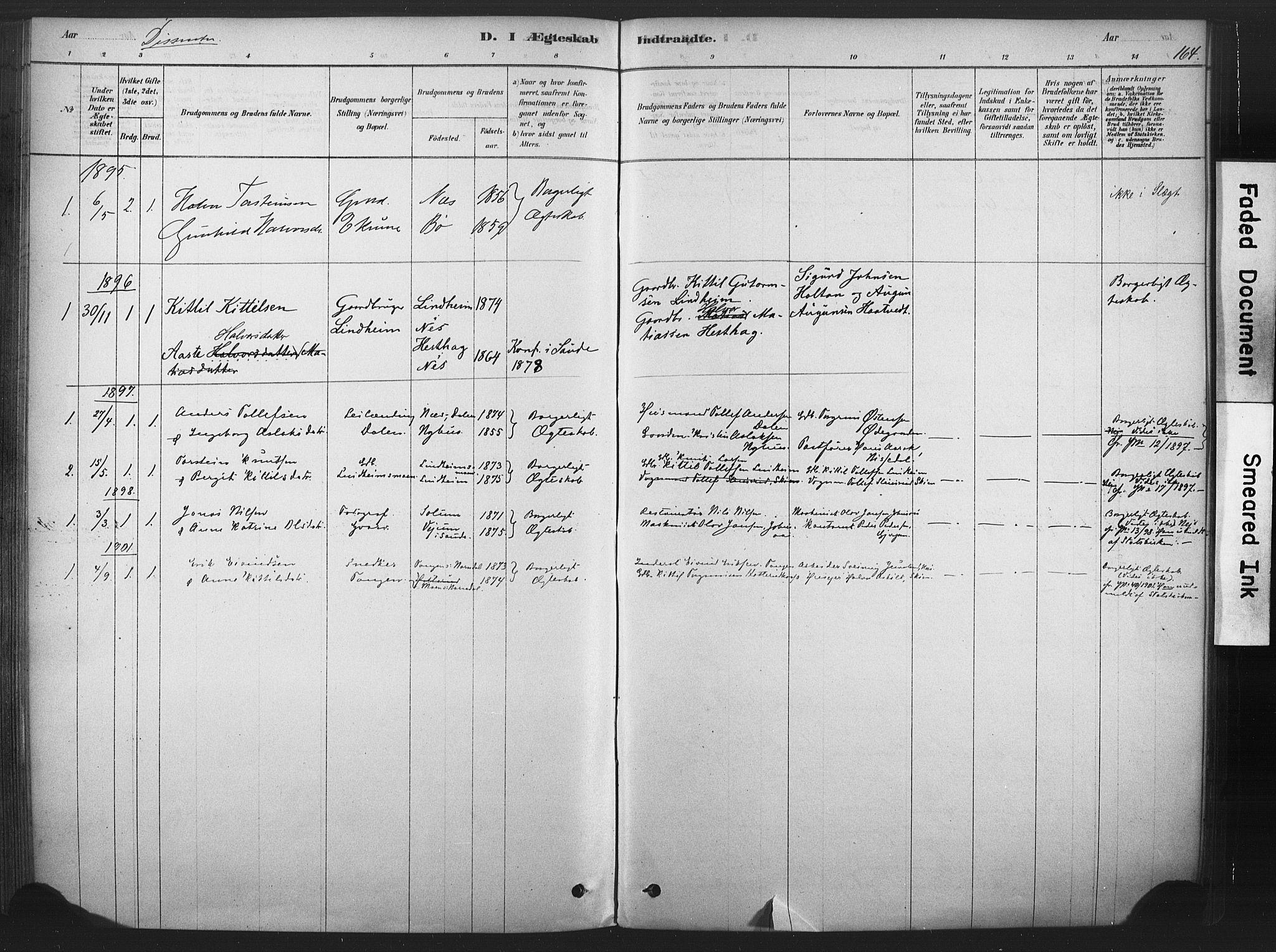 SAKO, Sauherad kirkebøker, F/Fb/L0002: Ministerialbok nr. II 2, 1878-1901, s. 164