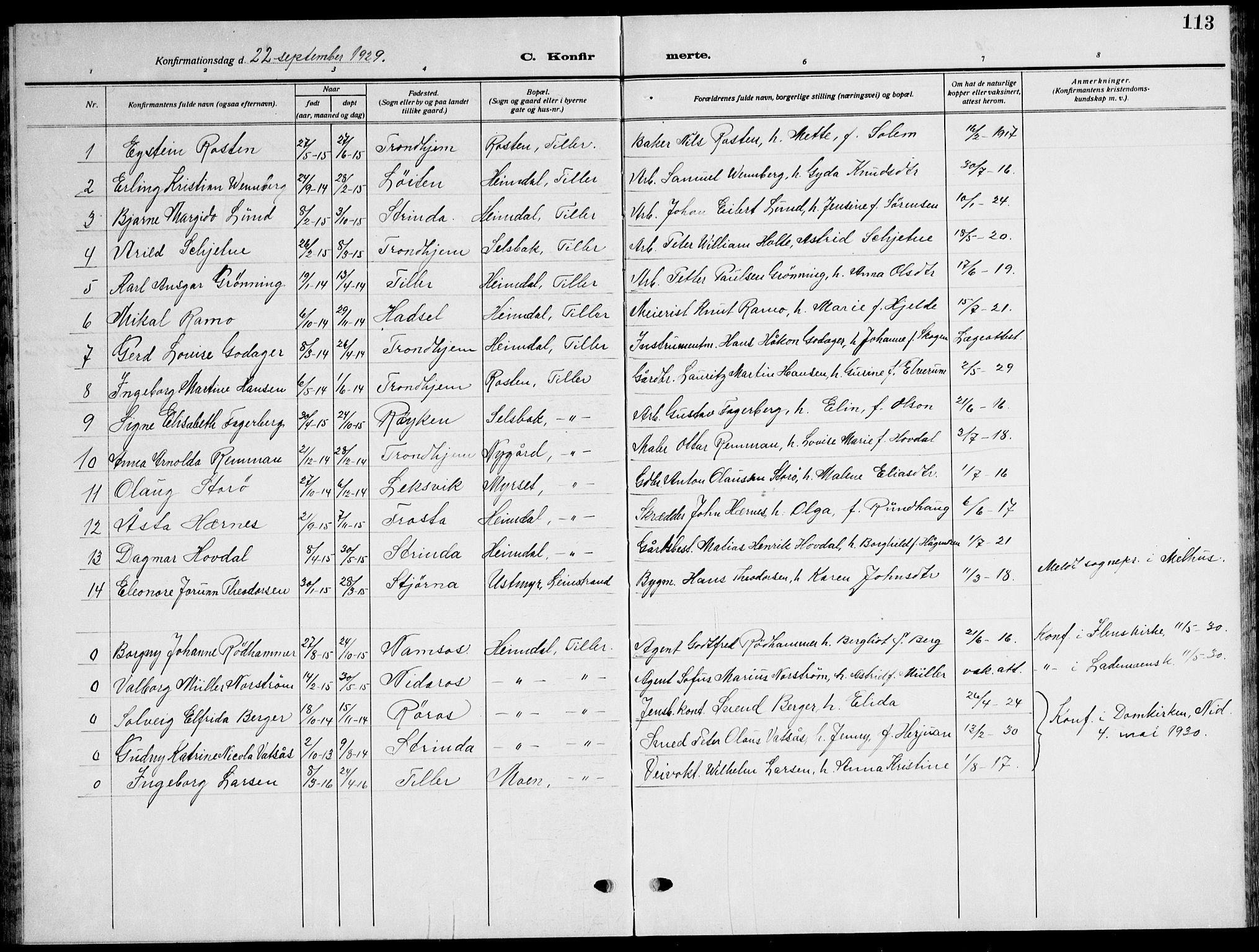 SAT, Ministerialprotokoller, klokkerbøker og fødselsregistre - Sør-Trøndelag, 621/L0462: Klokkerbok nr. 621C05, 1915-1945, s. 113