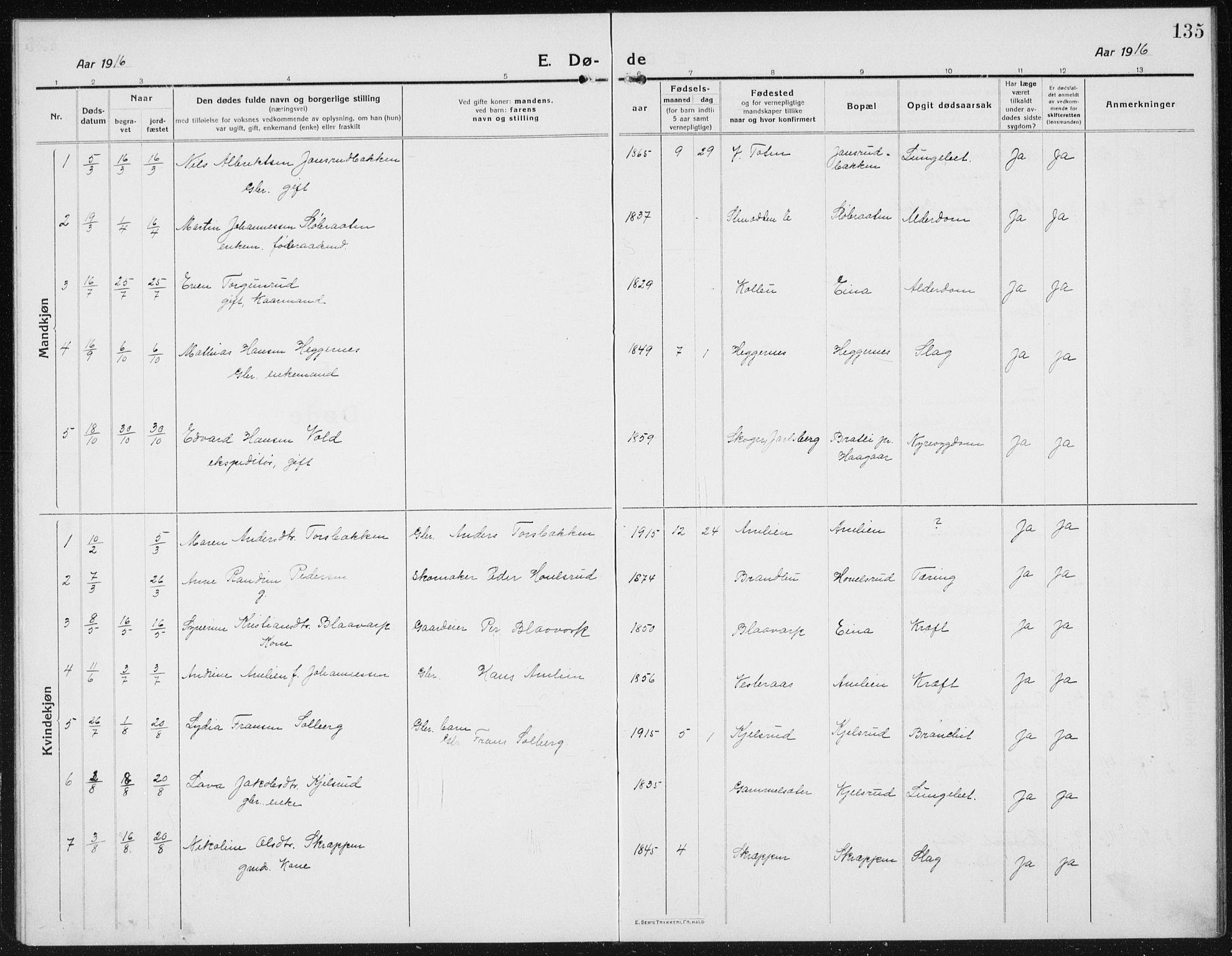 SAH, Kolbu prestekontor, Klokkerbok nr. 6, 1916-1934, s. 135