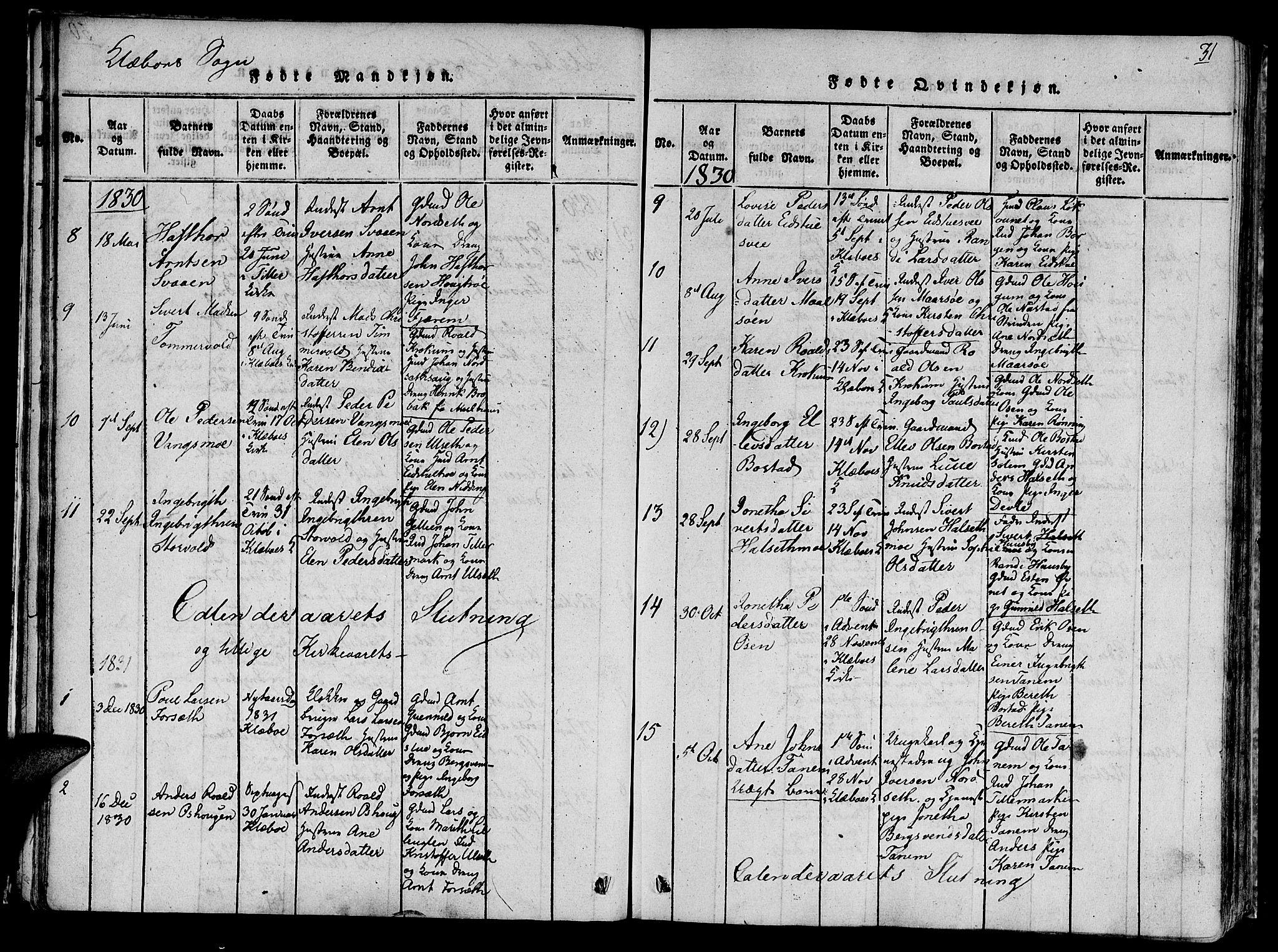 SAT, Ministerialprotokoller, klokkerbøker og fødselsregistre - Sør-Trøndelag, 618/L0439: Ministerialbok nr. 618A04 /1, 1816-1843, s. 31