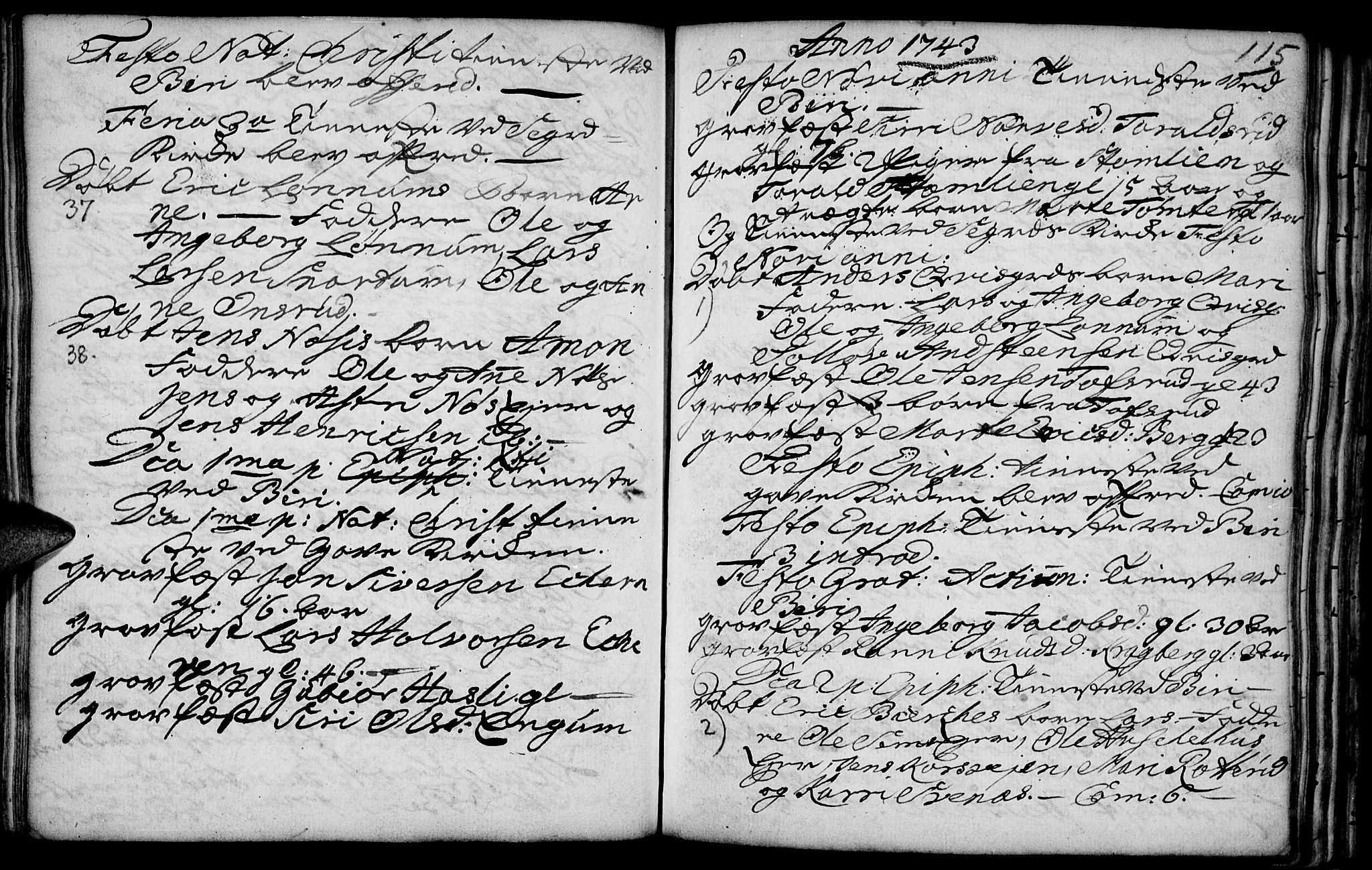 SAH, Biri prestekontor, Ministerialbok nr. 1, 1730-1754, s. 115