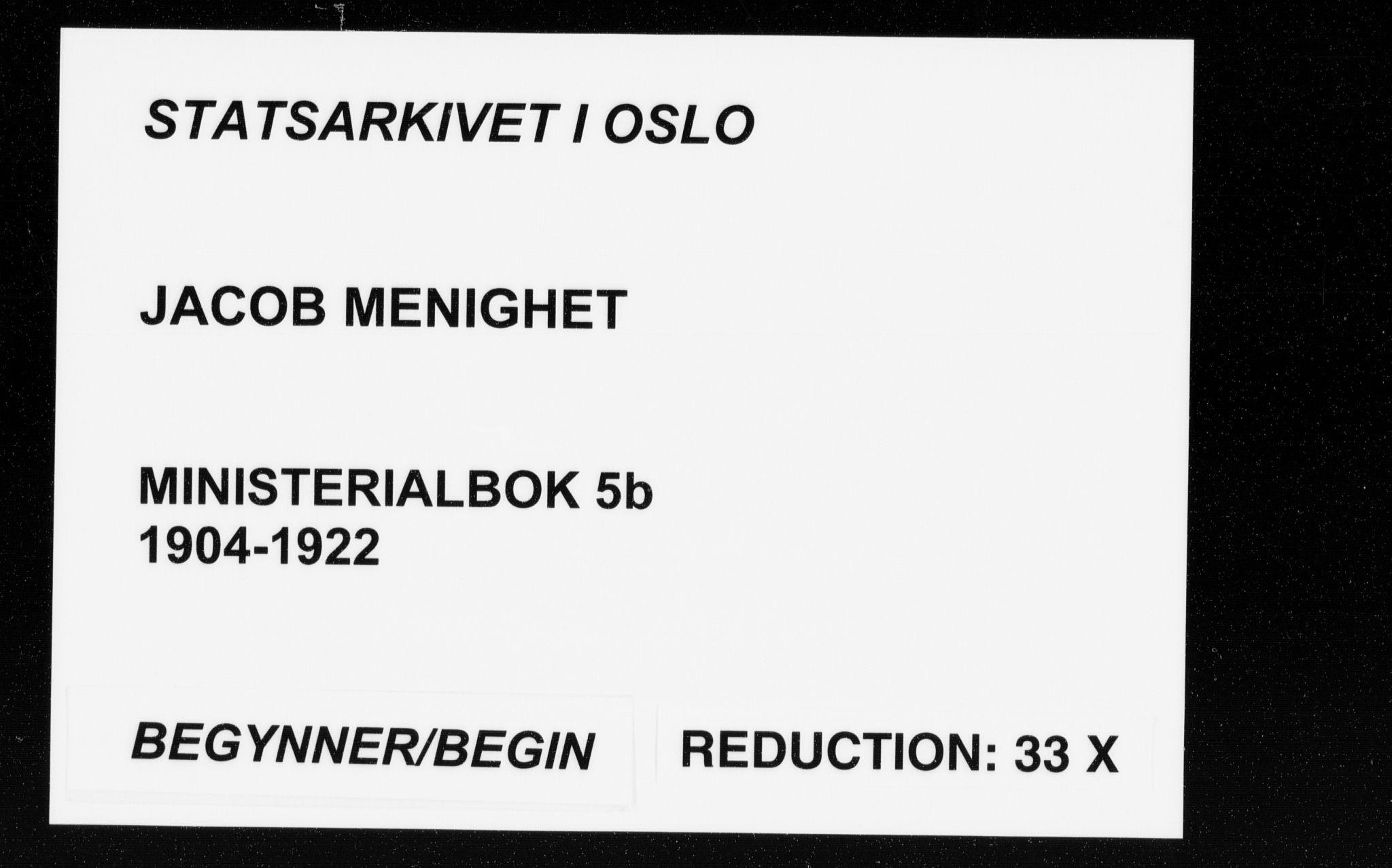 SAO, Jakob prestekontor Kirkebøker, F/Fa/L0005.b: Ministerialbok nr. 5b, 1904-1922