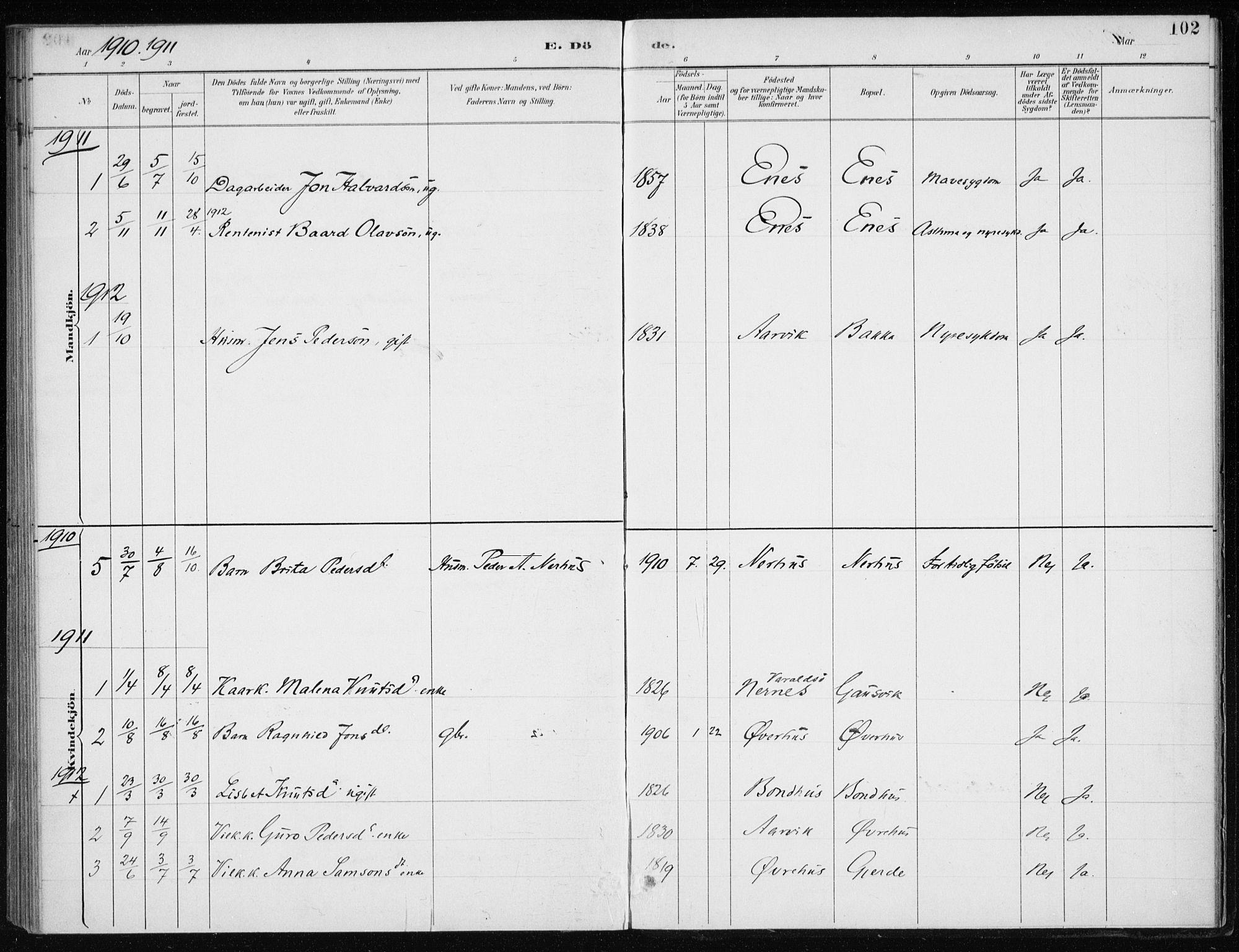SAB, Kvinnherad Sokneprestembete, H/Haa: Ministerialbok nr. F 1, 1887-1912, s. 102