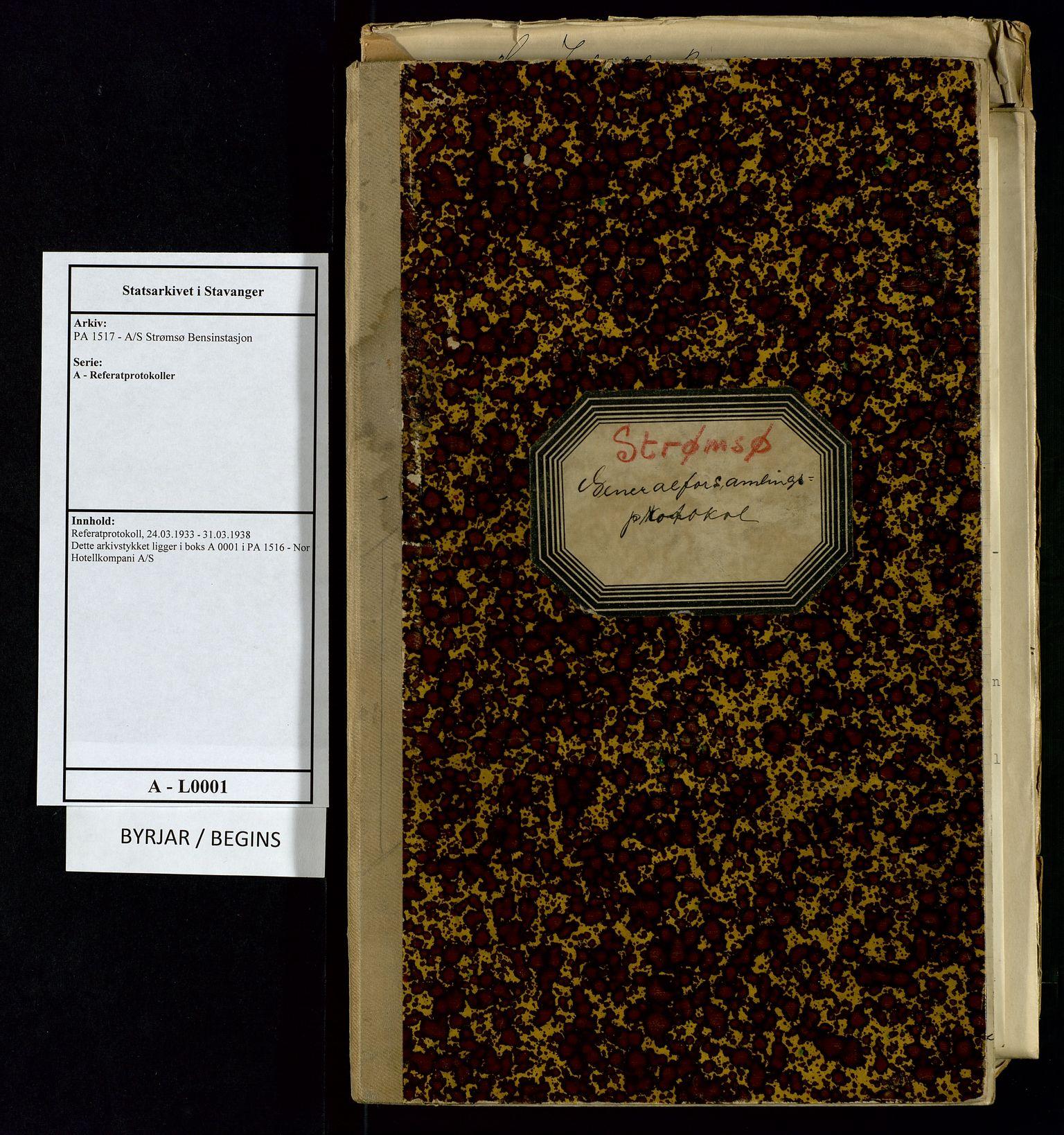 SAST, PA 1517 - A/S Strømsø Bensinstasjon, A/L0001: Referatprotokoll, 1933-1938, s. 1