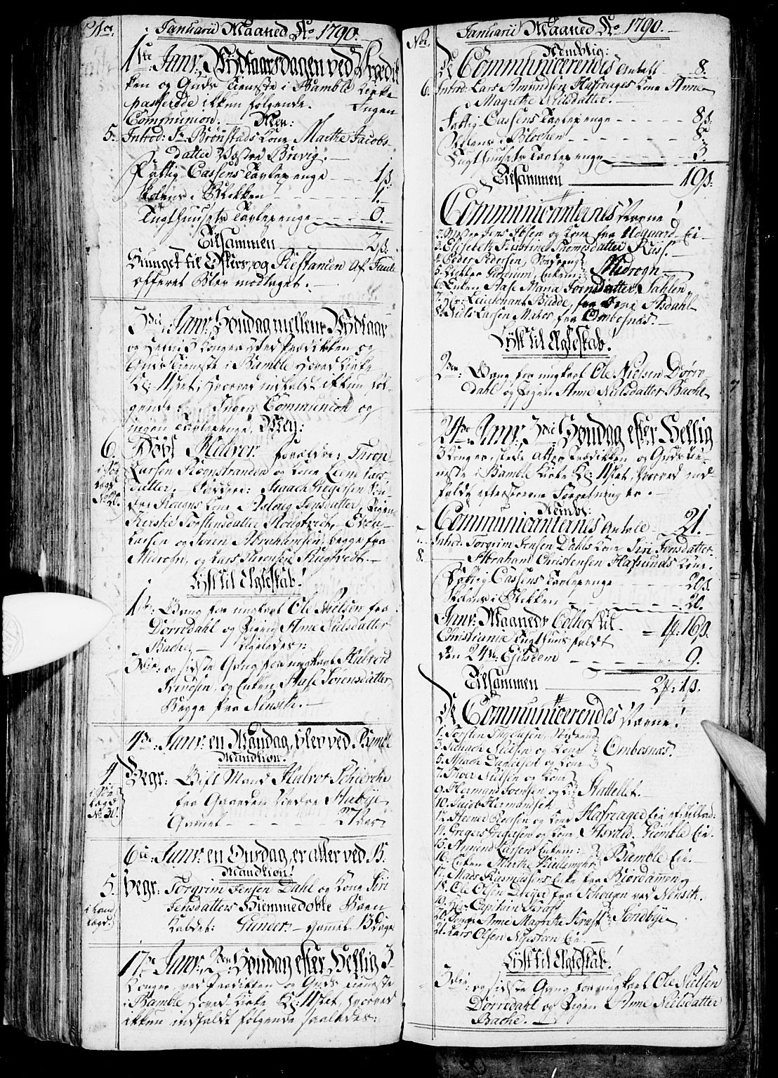 SAKO, Bamble kirkebøker, G/Ga/L0001: Klokkerbok nr. I 1, 1785-1793