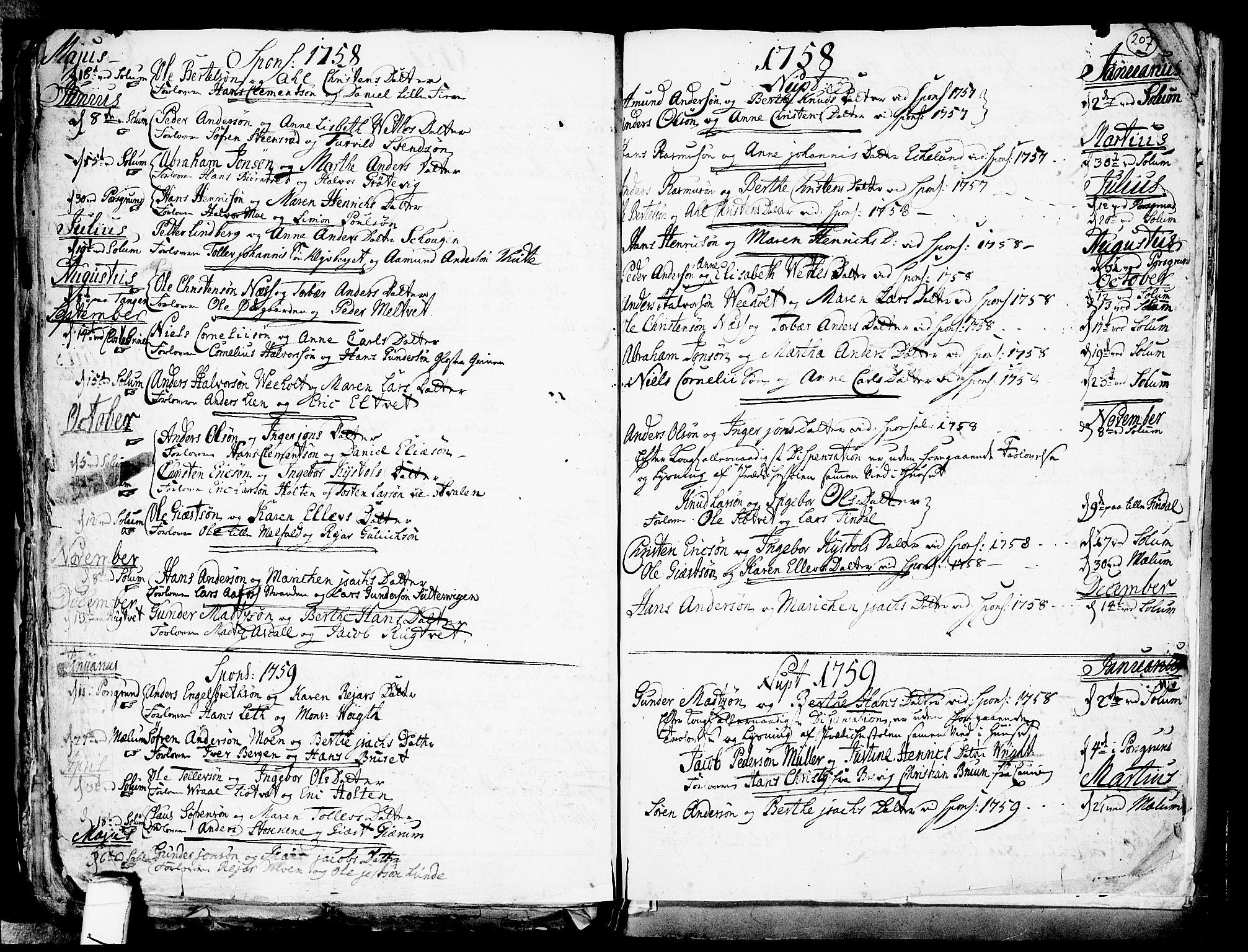 SAKO, Solum kirkebøker, F/Fa/L0002: Ministerialbok nr. I 2, 1713-1761, s. 207