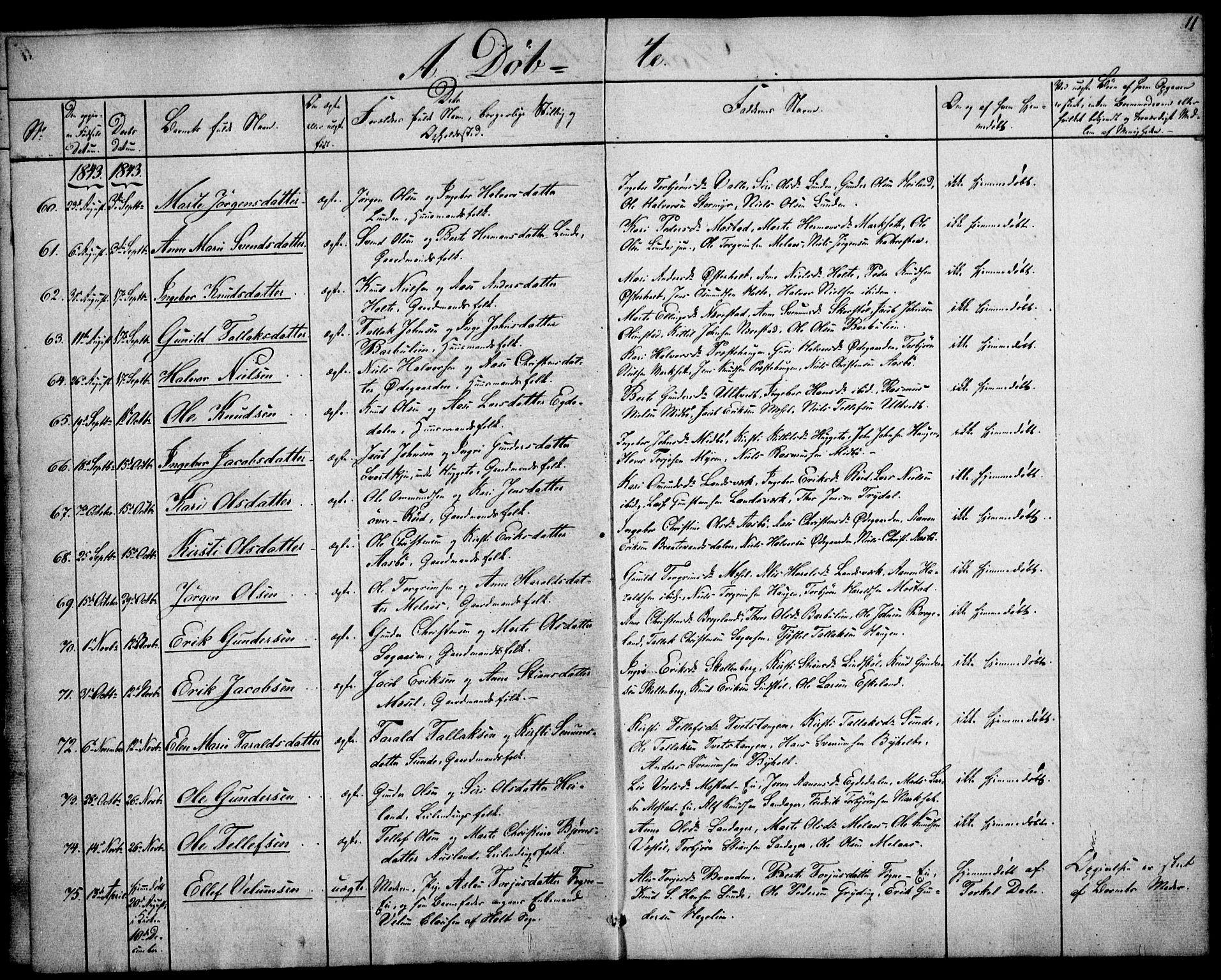 SAK, Gjerstad sokneprestkontor, F/Fa/Faa/L0006: Ministerialbok nr. A 6, 1841-1857, s. 11