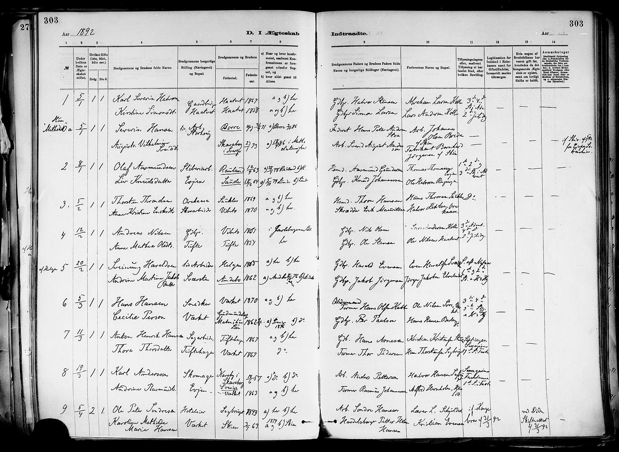 SAKO, Holla kirkebøker, F/Fa/L0008: Ministerialbok nr. 8, 1882-1897, s. 303