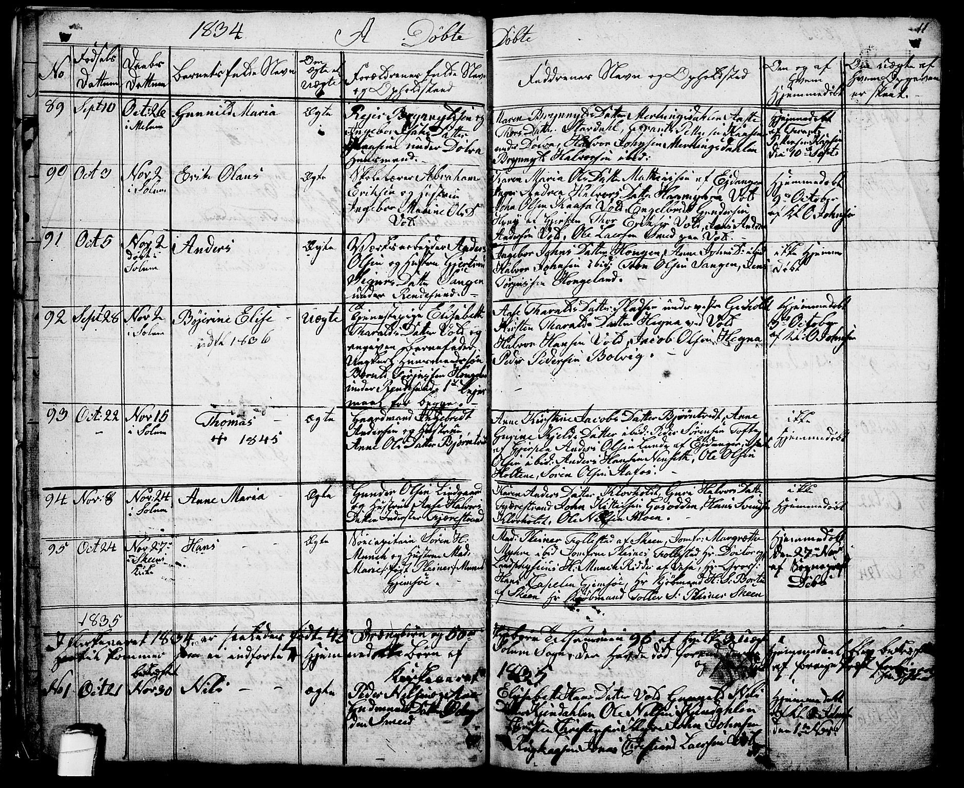 SAKO, Solum kirkebøker, G/Ga/L0002: Klokkerbok nr. I 2, 1834-1848, s. 11