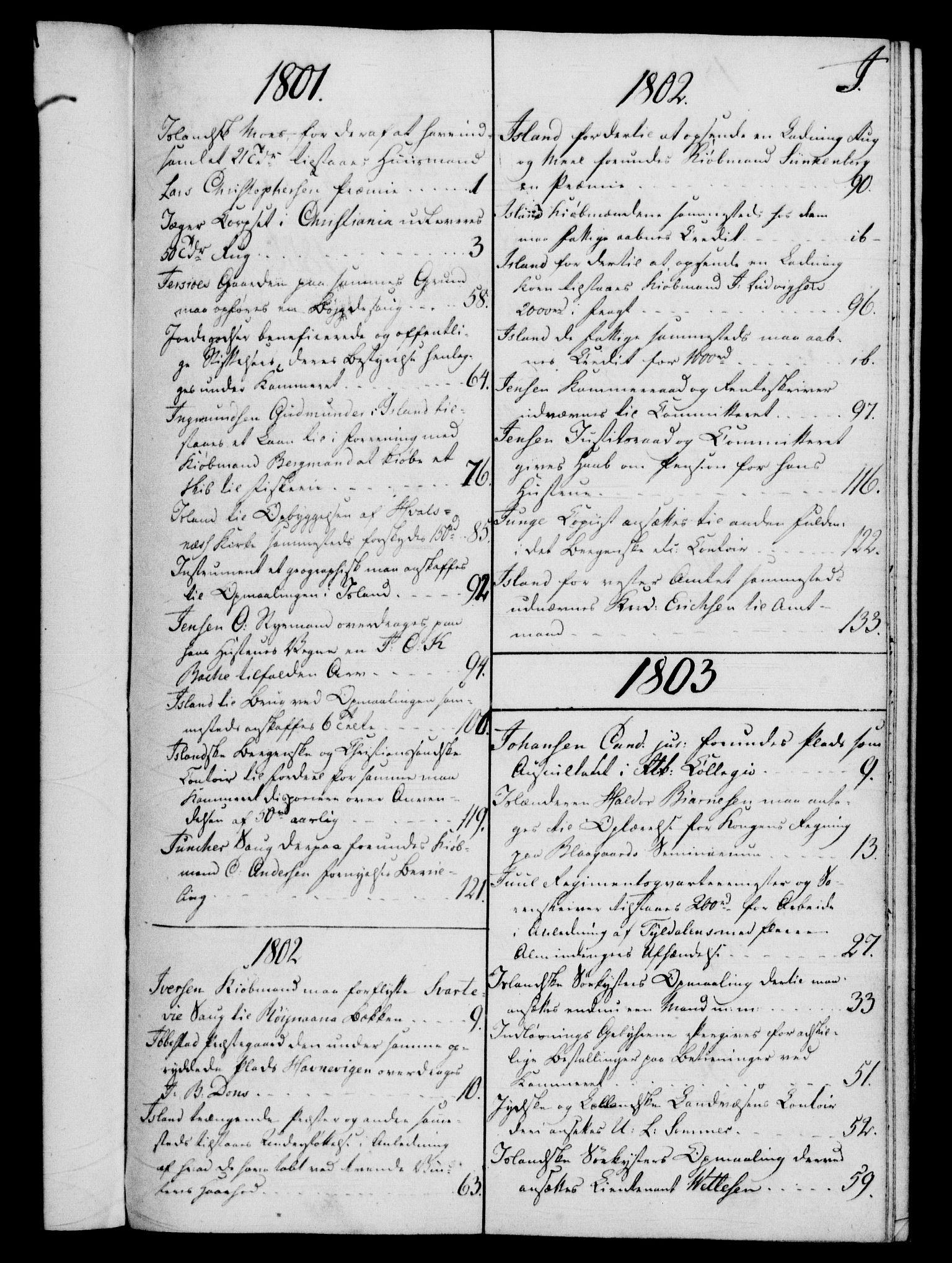 RA, Rentekammeret, Kammerkanselliet, G/Gf/Gfb/L0016: Register til norske relasjons- og resolusjonsprotokoller (merket RK 52.111), 1801-1814, s. 88