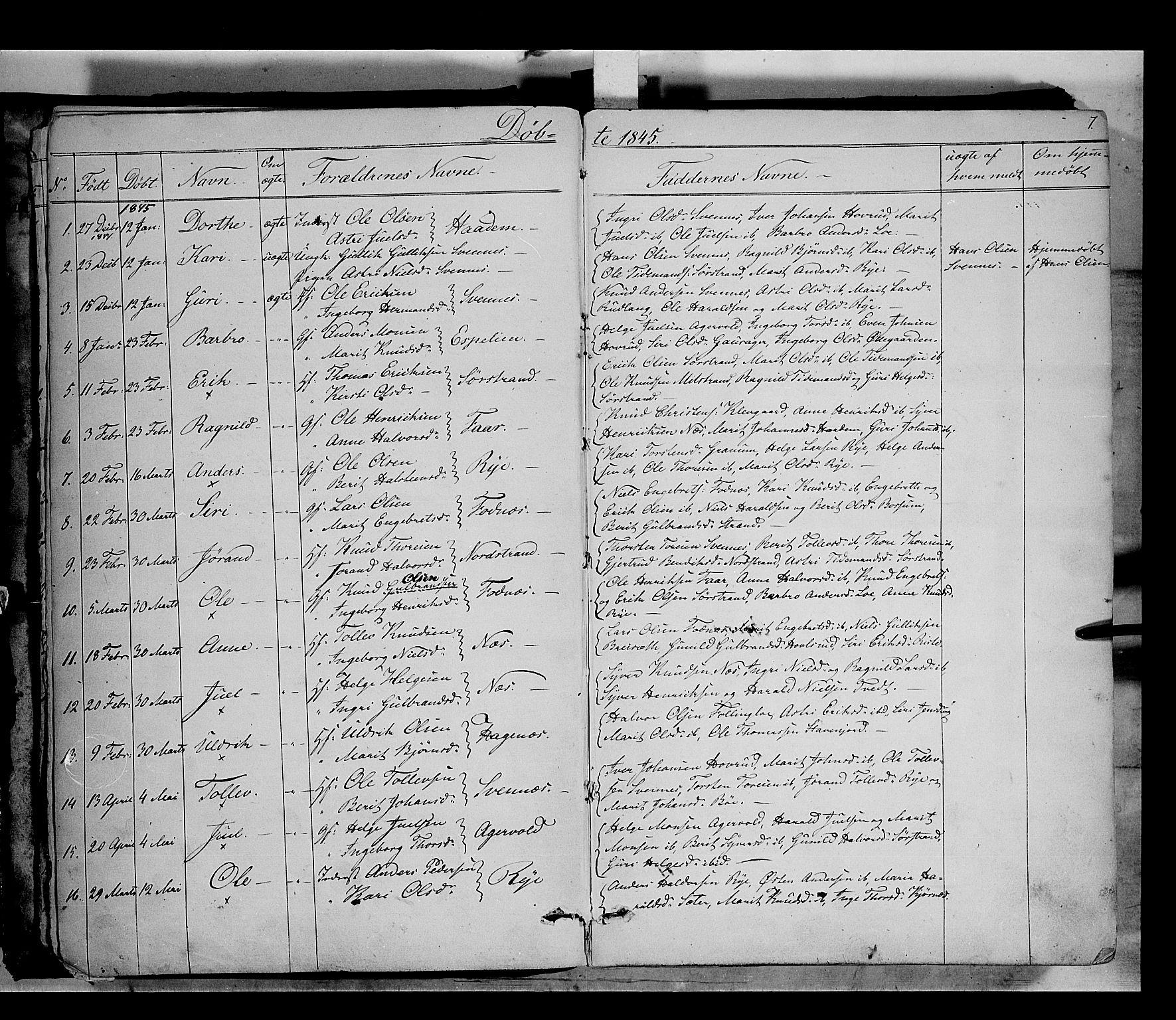 SAH, Nord-Aurdal prestekontor, Ministerialbok nr. 5, 1842-1863, s. 7