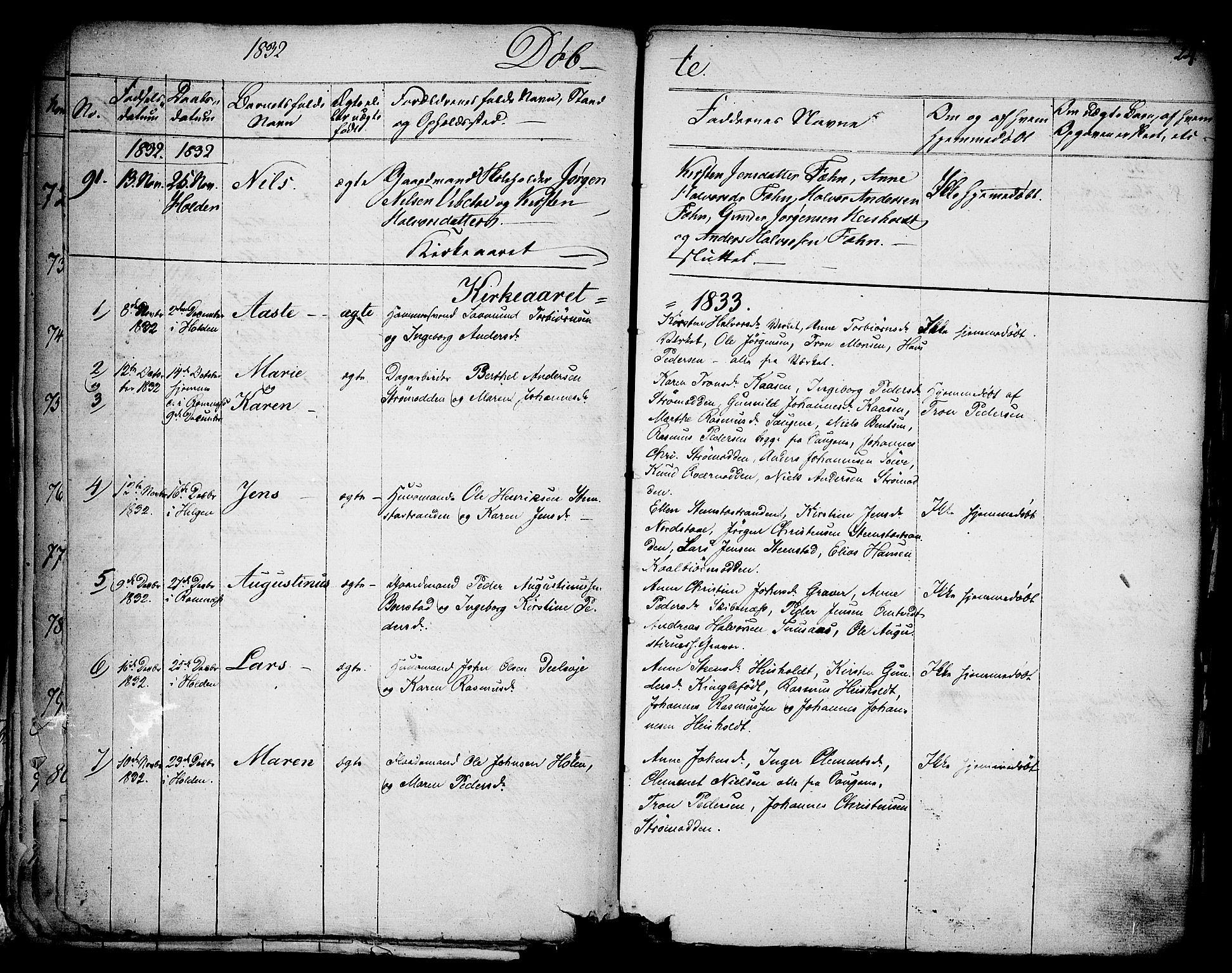 SAKO, Holla kirkebøker, F/Fa/L0004: Ministerialbok nr. 4, 1830-1848, s. 24