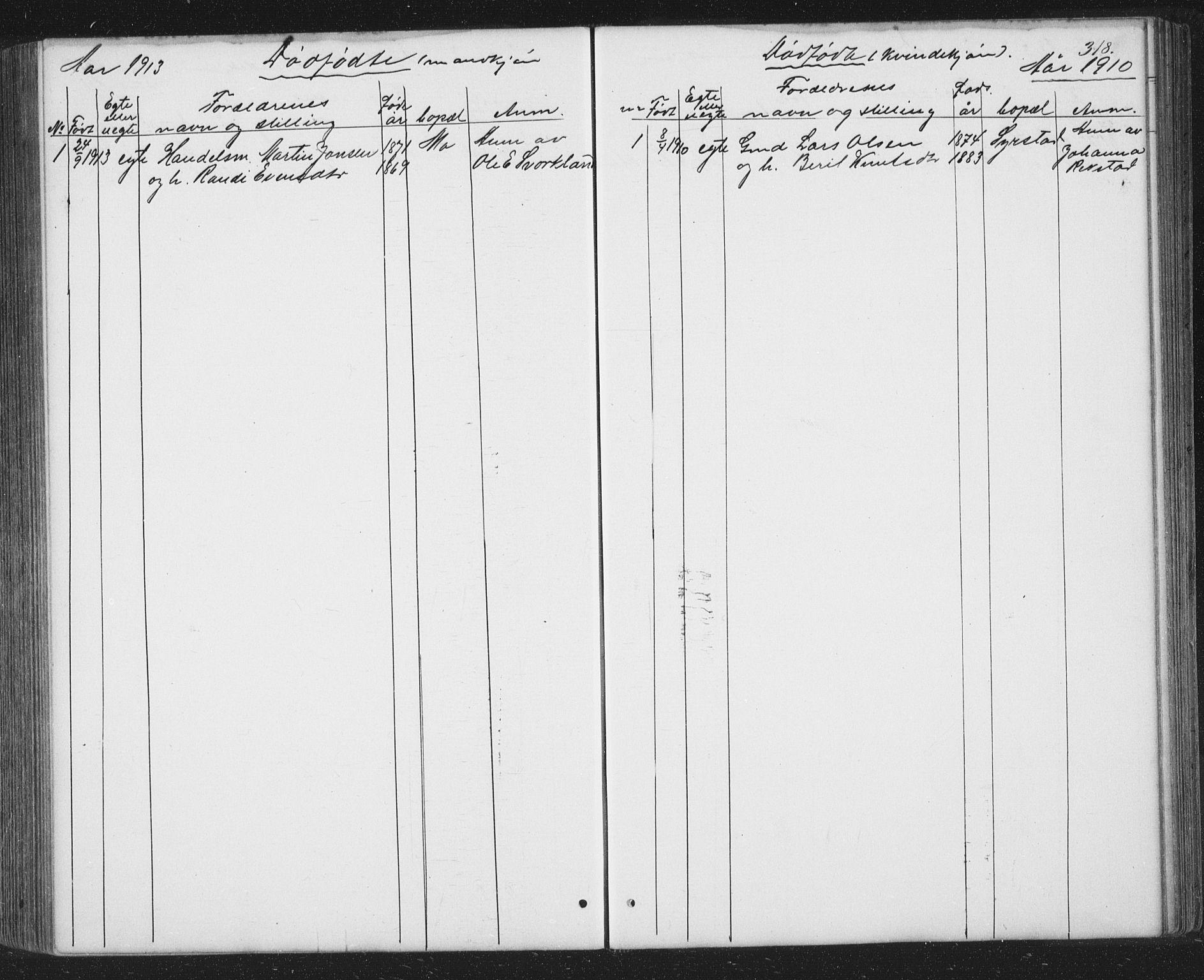 SAT, Ministerialprotokoller, klokkerbøker og fødselsregistre - Sør-Trøndelag, 667/L0798: Klokkerbok nr. 667C03, 1867-1929, s. 318