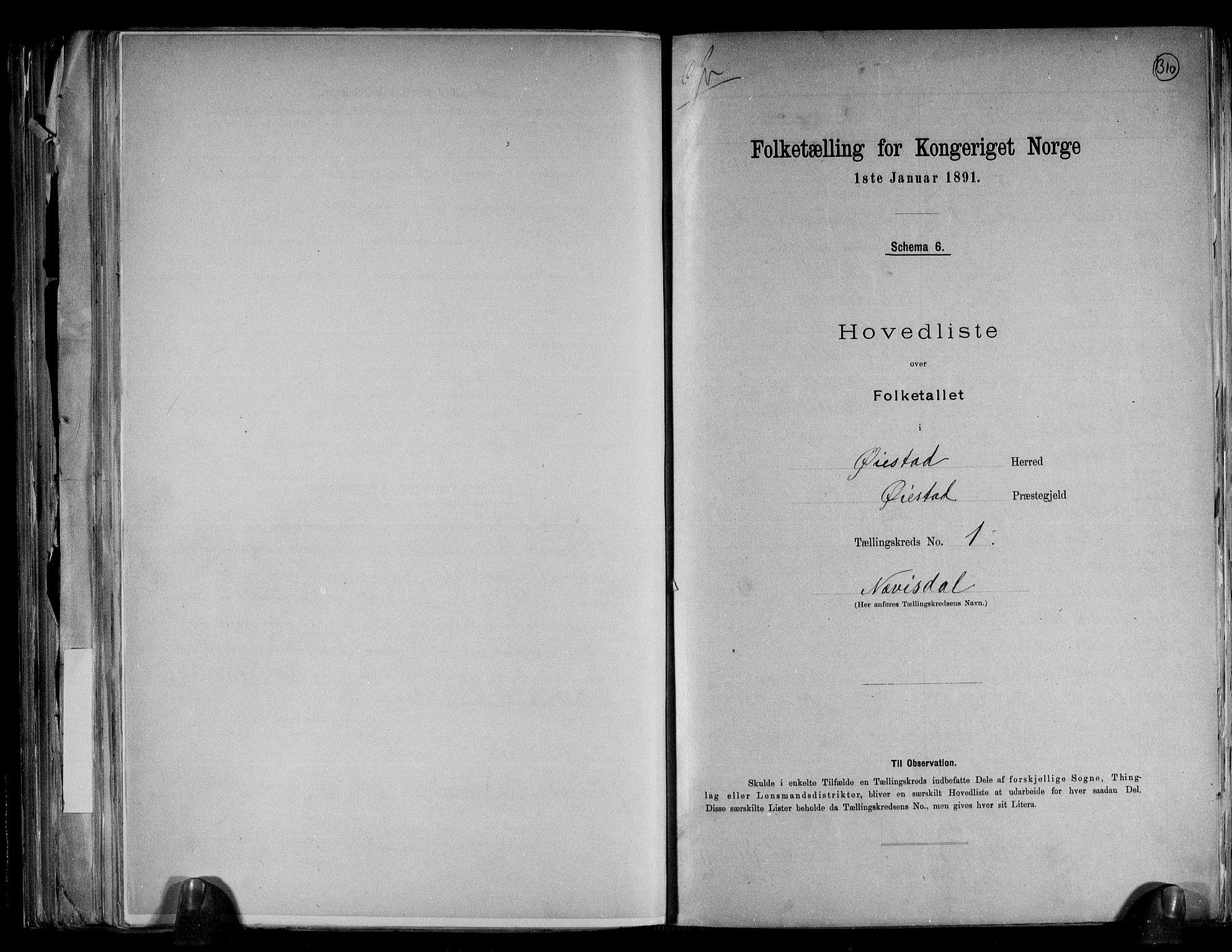 RA, Folketelling 1891 for 0920 Øyestad herred, 1891, s. 4