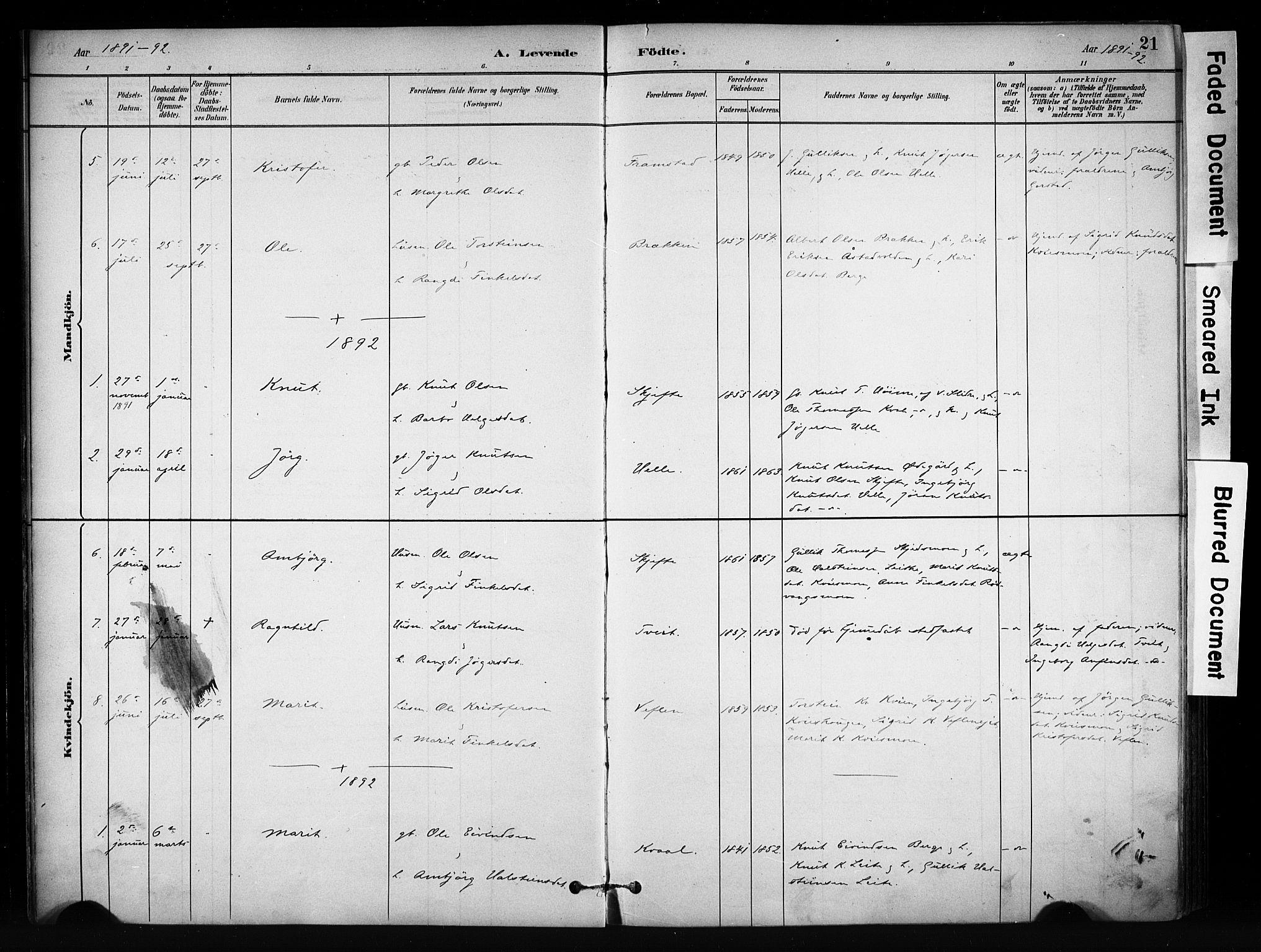 SAH, Vang prestekontor, Valdres, Ministerialbok nr. 9, 1882-1914, s. 21