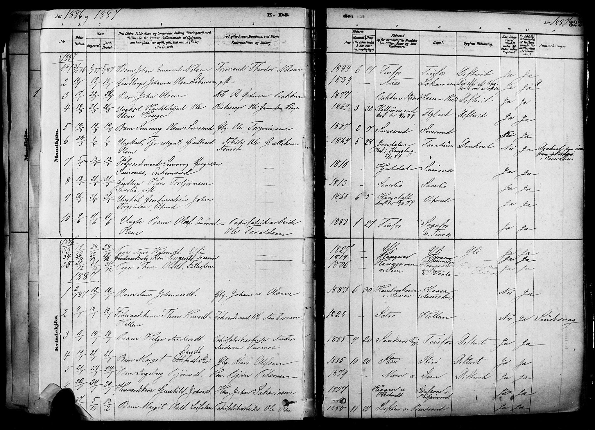 SAKO, Heddal kirkebøker, F/Fa/L0008: Ministerialbok nr. I 8, 1878-1903, s. 322