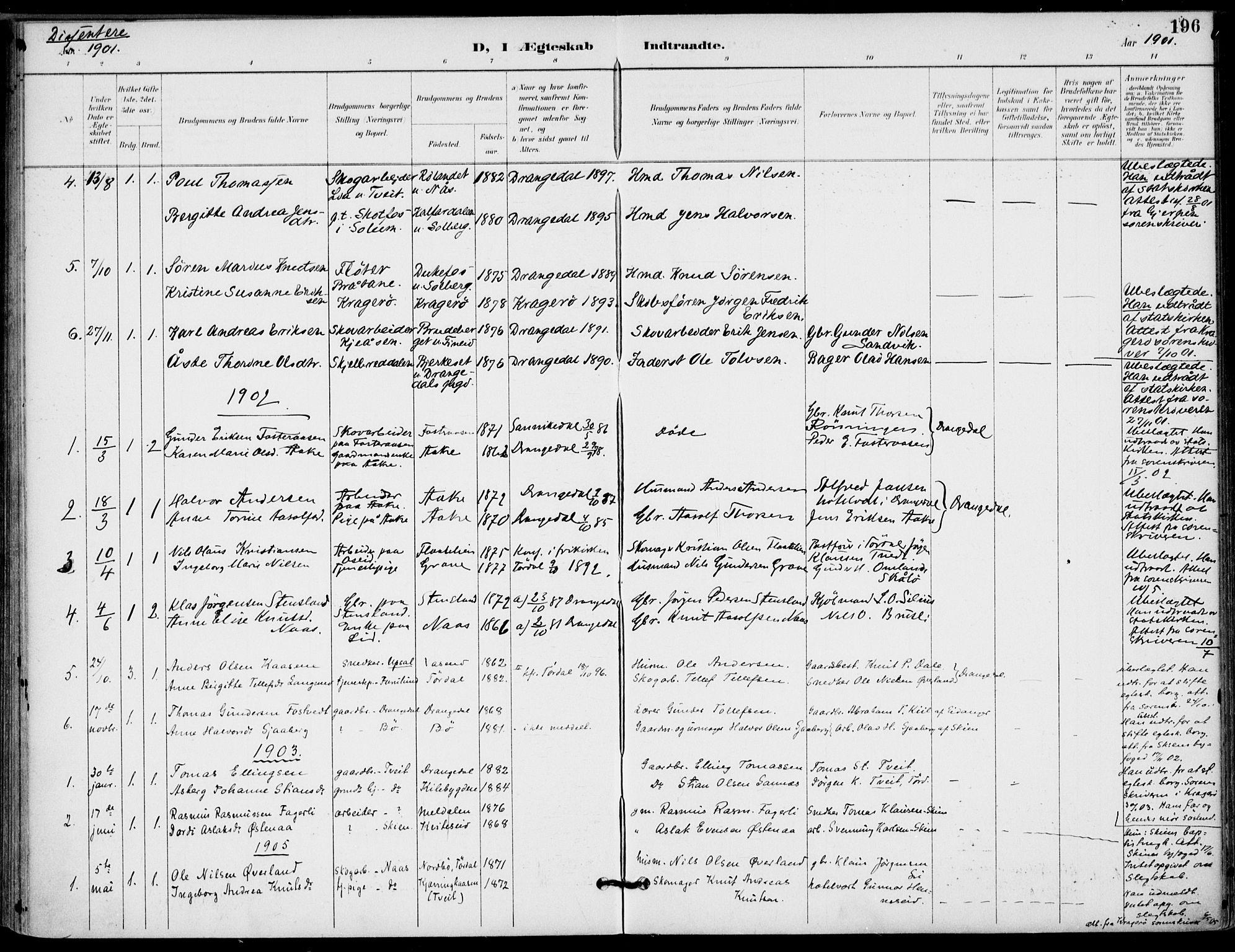 SAKO, Drangedal kirkebøker, F/Fa/L0012: Ministerialbok nr. 12, 1895-1905, s. 196