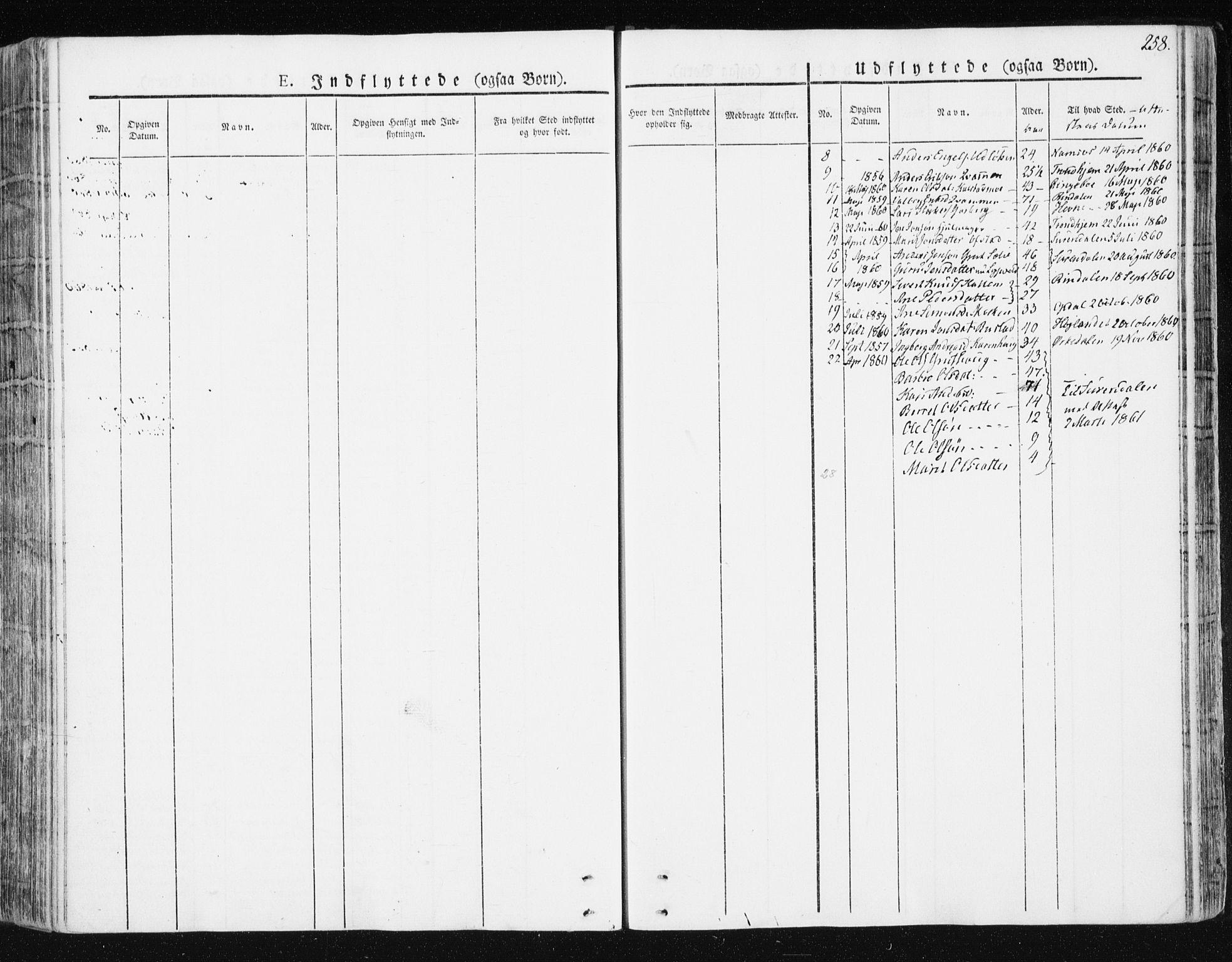 SAT, Ministerialprotokoller, klokkerbøker og fødselsregistre - Sør-Trøndelag, 672/L0855: Ministerialbok nr. 672A07, 1829-1860, s. 258