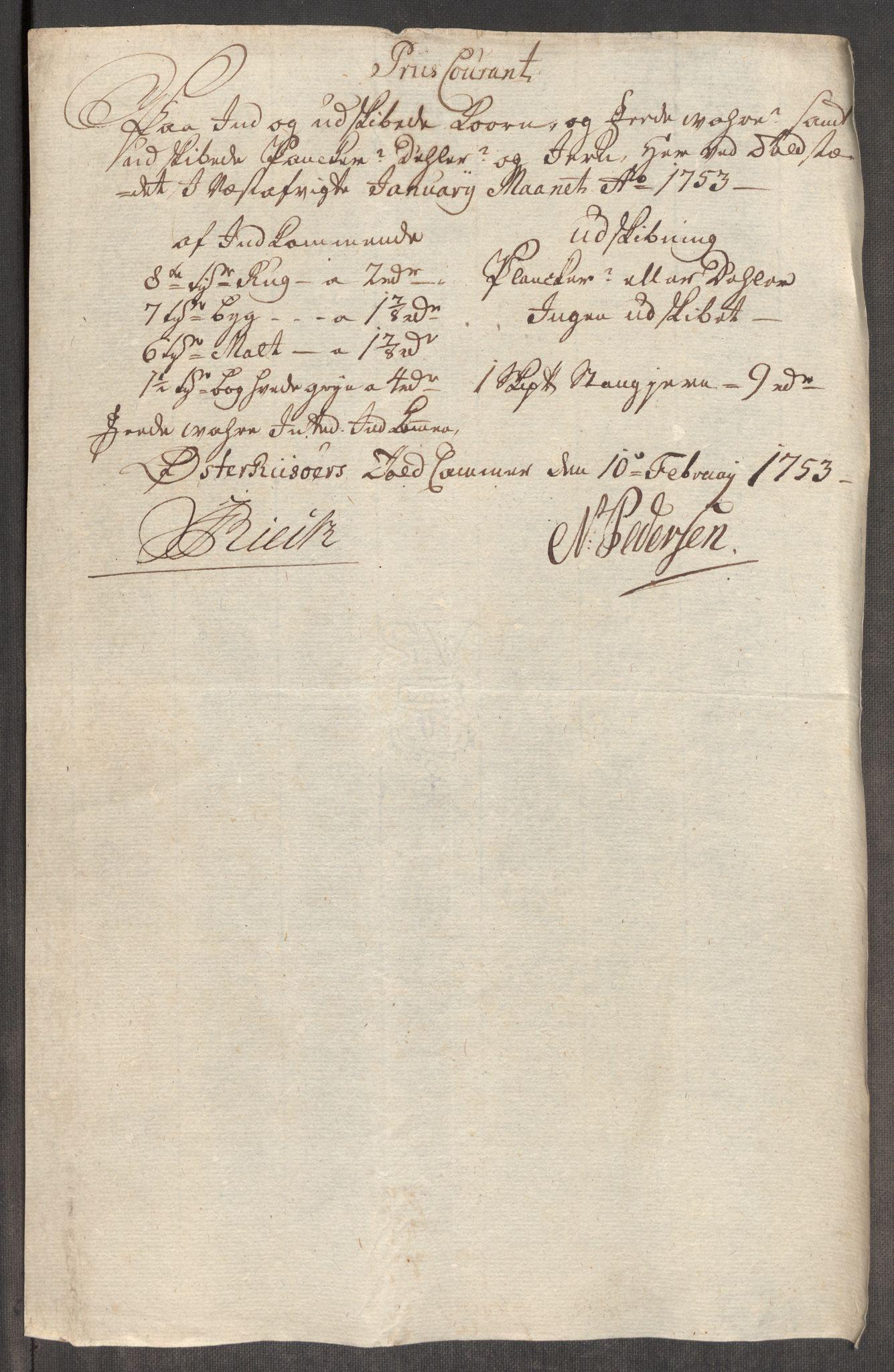 RA, Rentekammeret inntil 1814, Realistisk ordnet avdeling, Oe/L0005: [Ø1]: Priskuranter, 1753-1757, s. 117