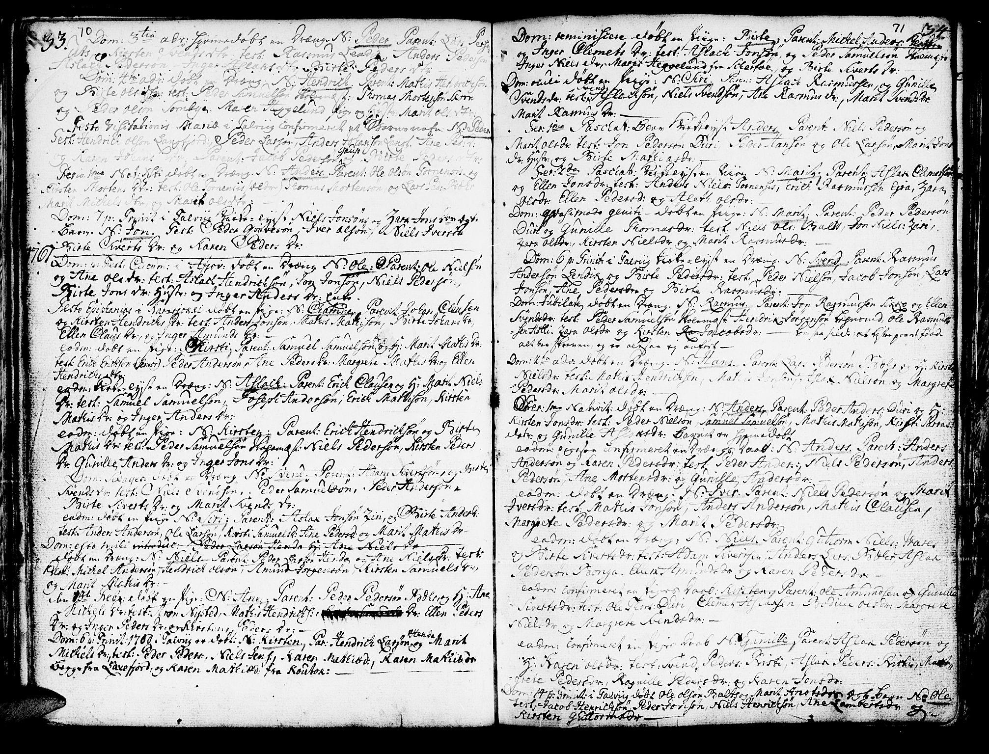 SATØ, Kautokeino sokneprestembete, H/Ha/L0001.kirke: Ministerialbok nr. 1, 1723-1776, s. 70-71