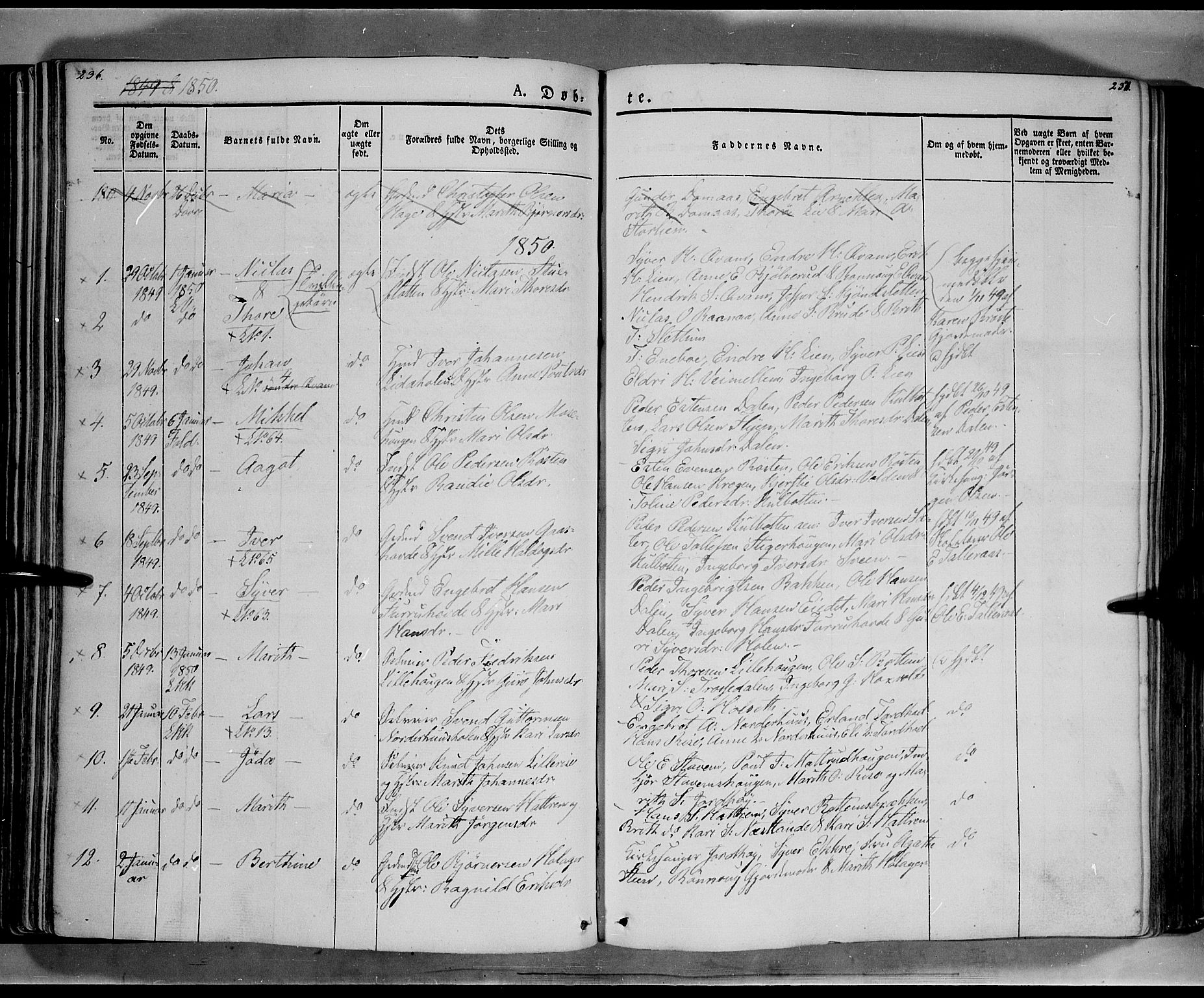 SAH, Lesja prestekontor, Ministerialbok nr. 6A, 1843-1854, s. 236-237