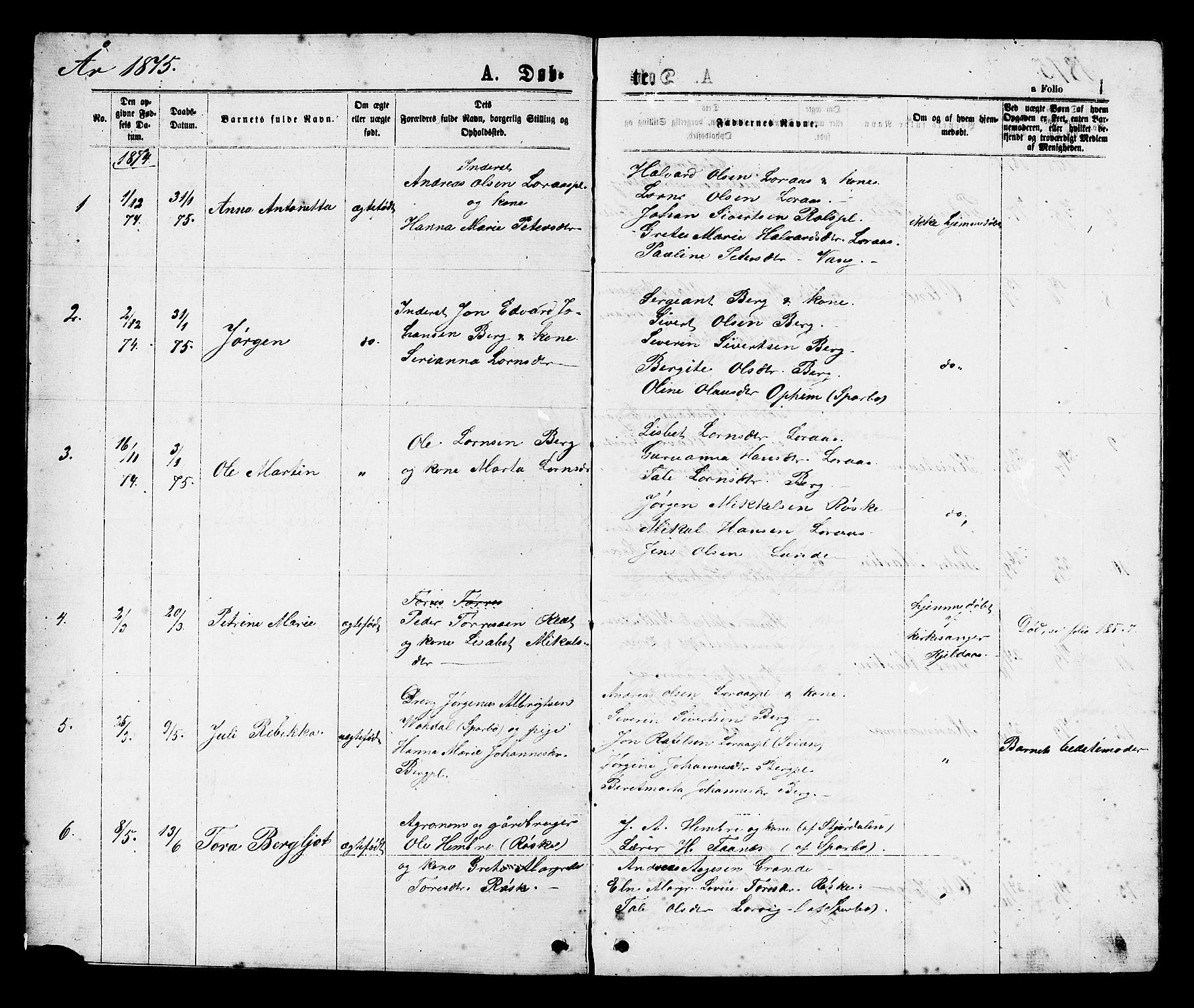 SAT, Ministerialprotokoller, klokkerbøker og fødselsregistre - Nord-Trøndelag, 731/L0311: Klokkerbok nr. 731C02, 1875-1911, s. 1