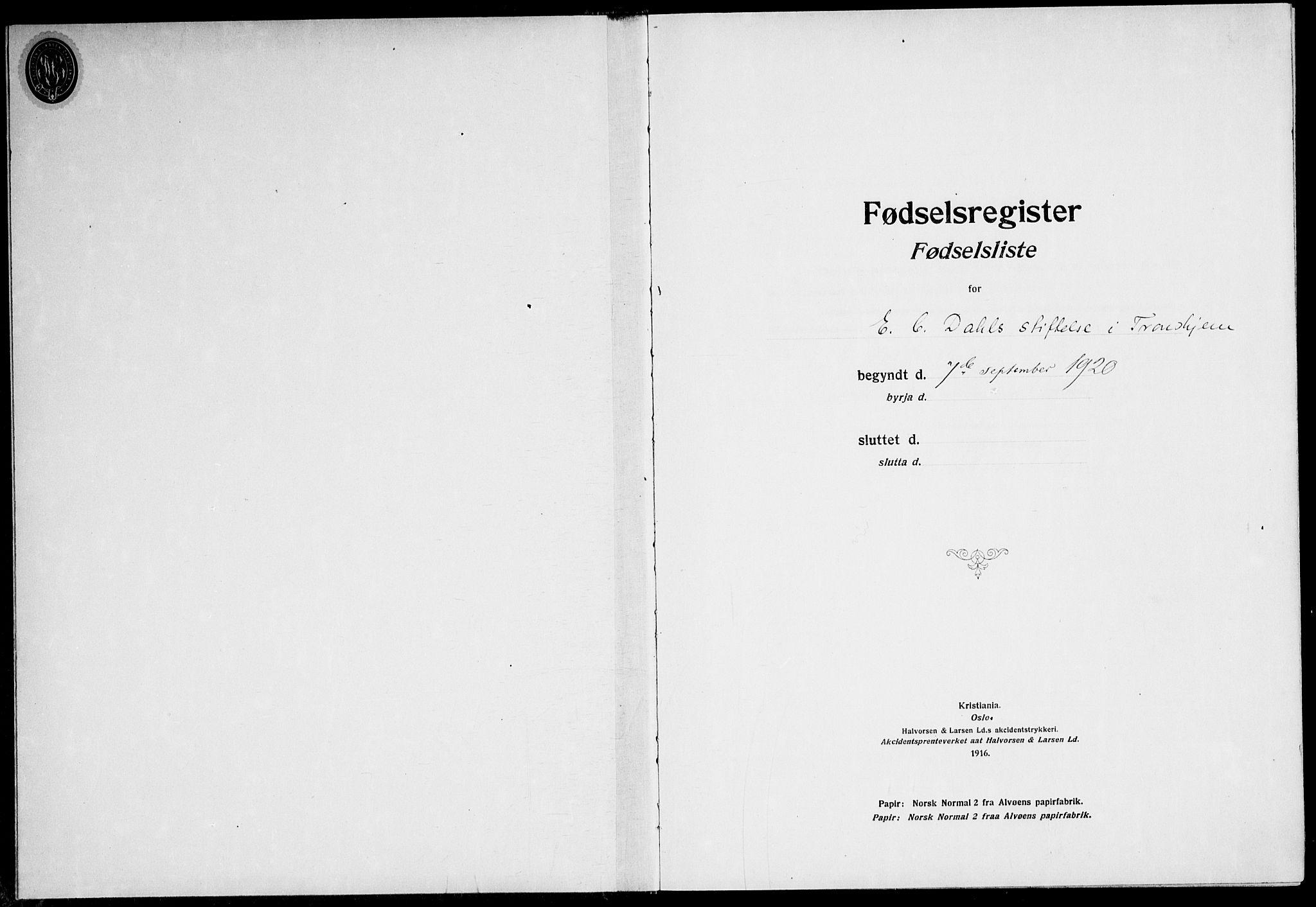 SAT, Ministerialprotokoller, klokkerbøker og fødselsregistre - Sør-Trøndelag, 600/L0003: Fødselsregister nr. 600.II.4.2, 1920-1924