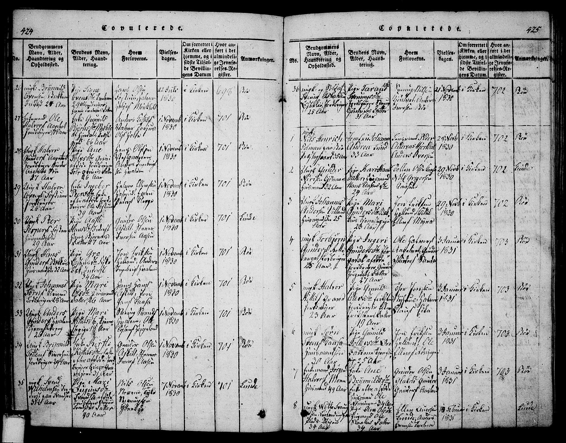 SAKO, Bø kirkebøker, G/Ga/L0001: Klokkerbok nr. 1, 1815-1831, s. 424-425
